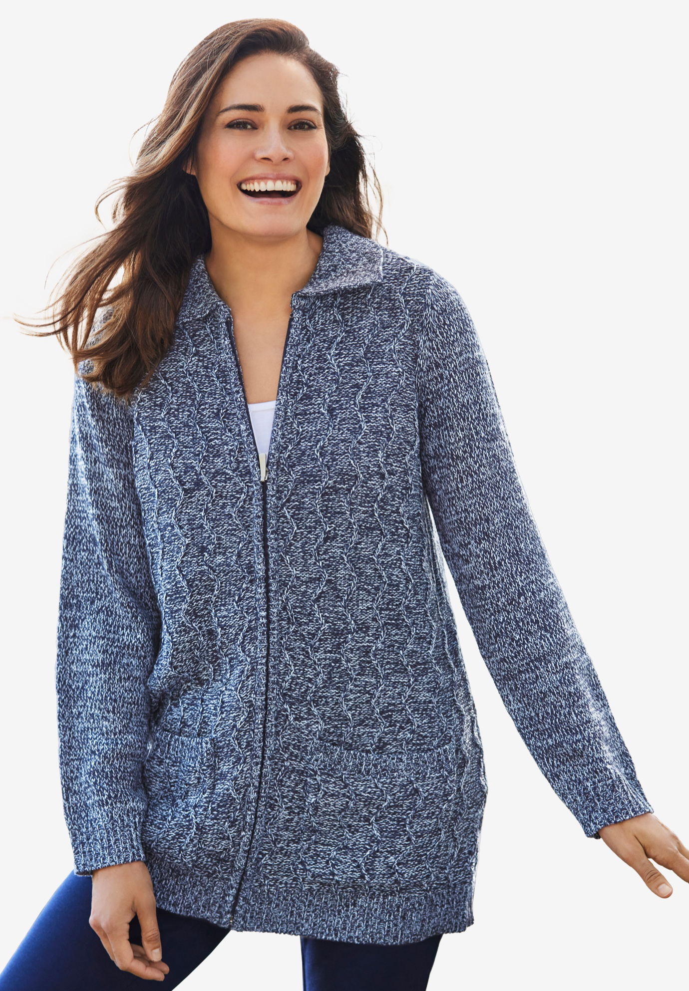 Marled zip front cable knit cardigan, NAVY SKY BLUE, hi-res