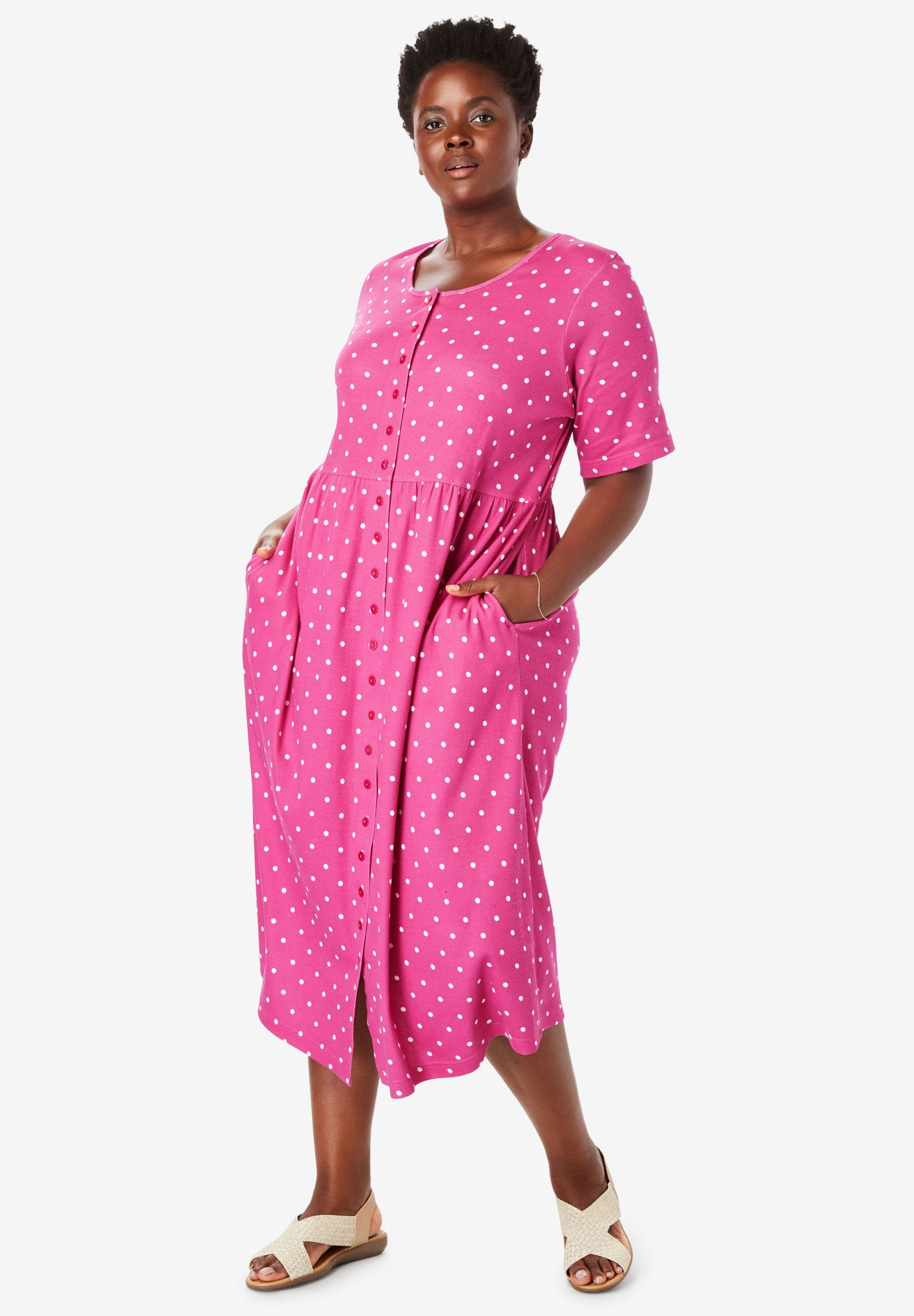 Button Front Empire Waist Dress by Only Necessities® | Plus Size ...