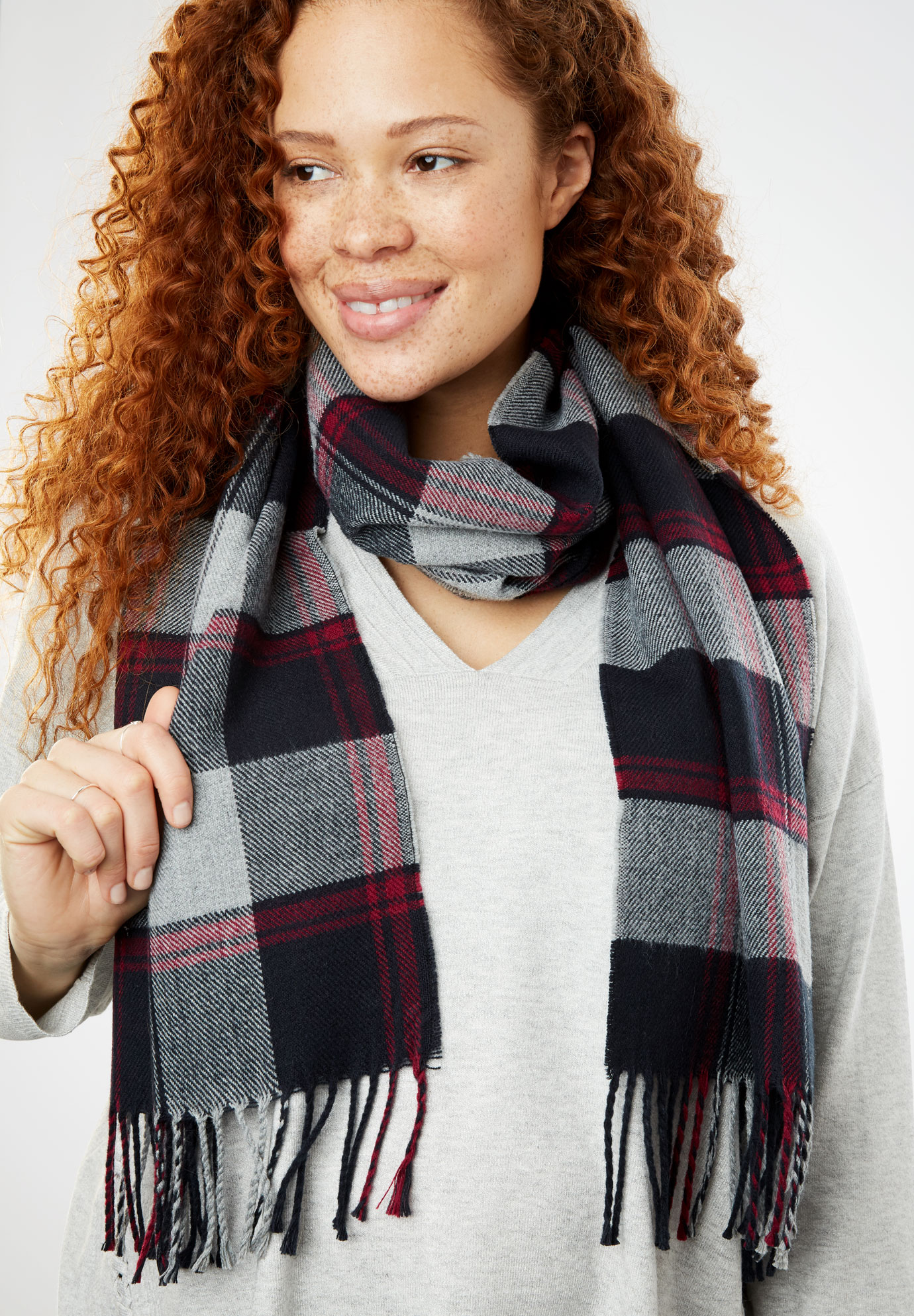 Plaid Fringed Scarf, HEATHER GREY PLAID