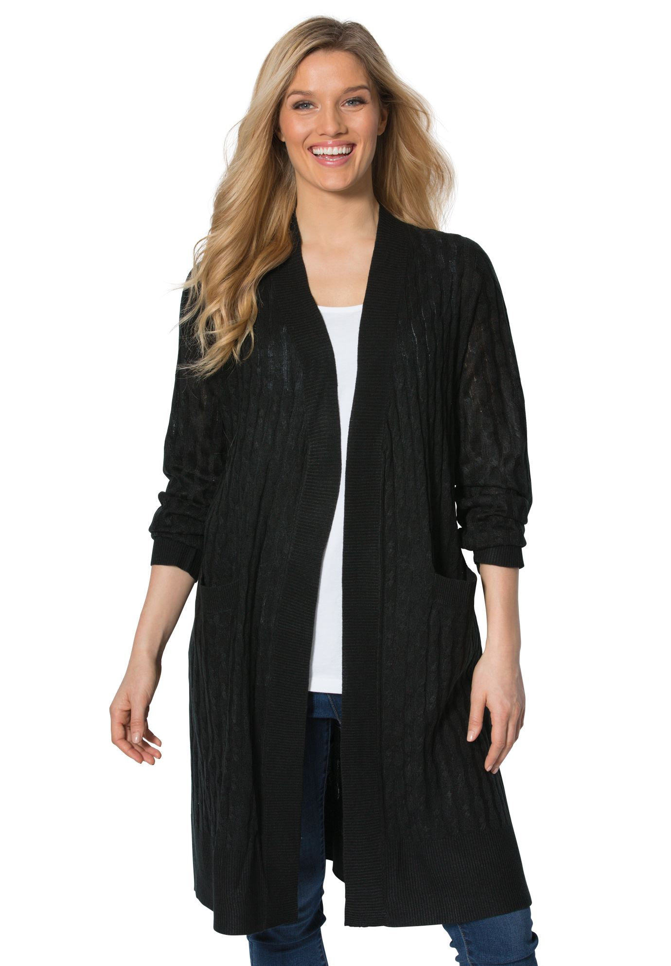 b531ad44512 Lightweight Cabled Duster Cardigan
