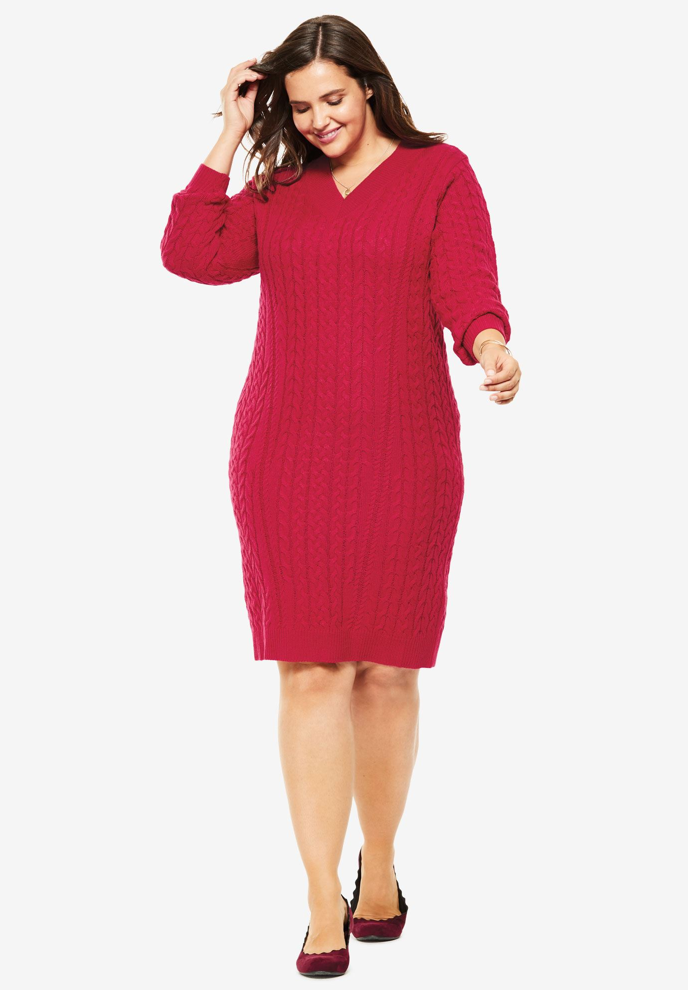 Cabled V-Neck Sweaterdress,