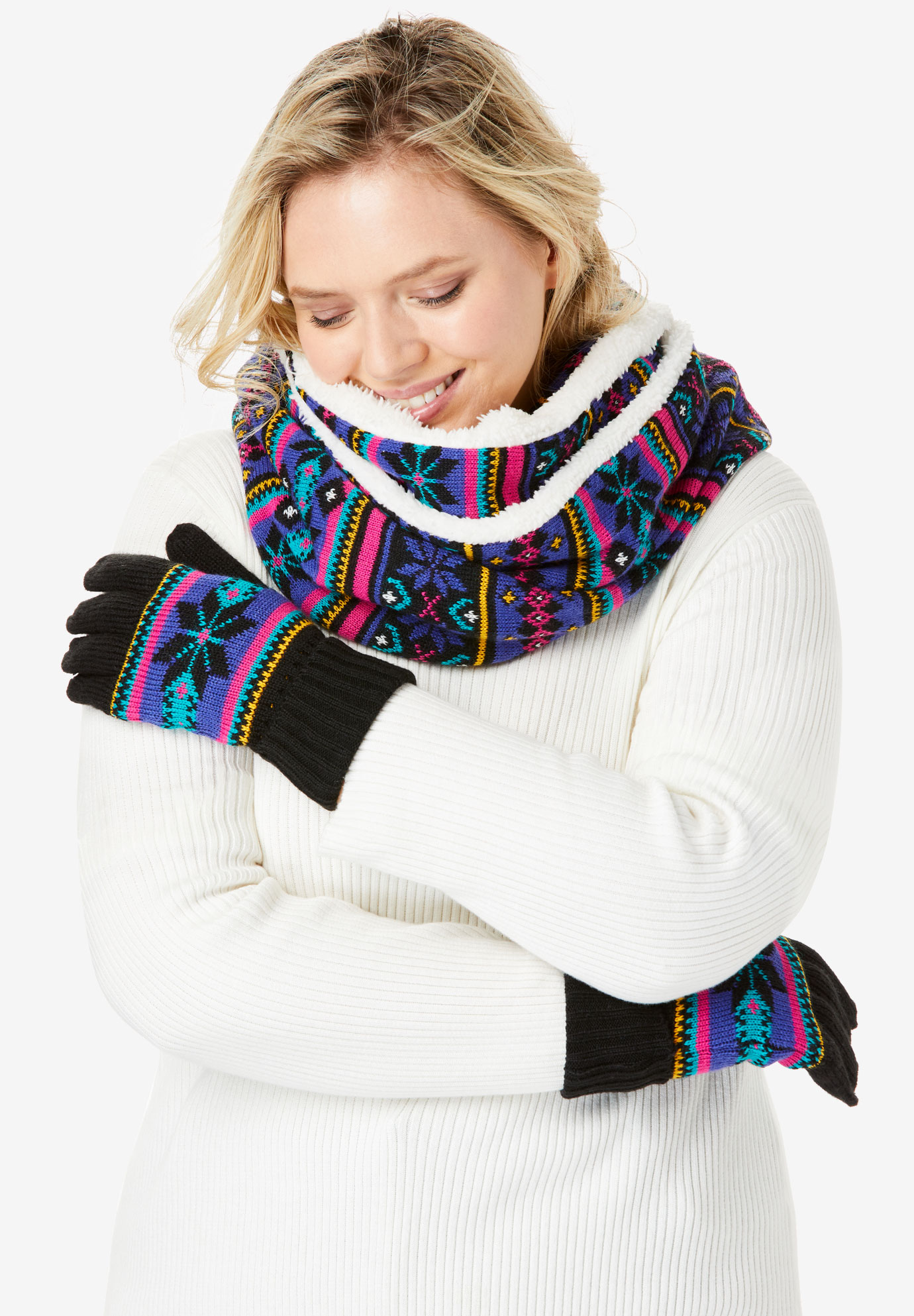 Sherpa-Lined Infinity Scarf & Gloves Set, MULTI FAIR ISLE