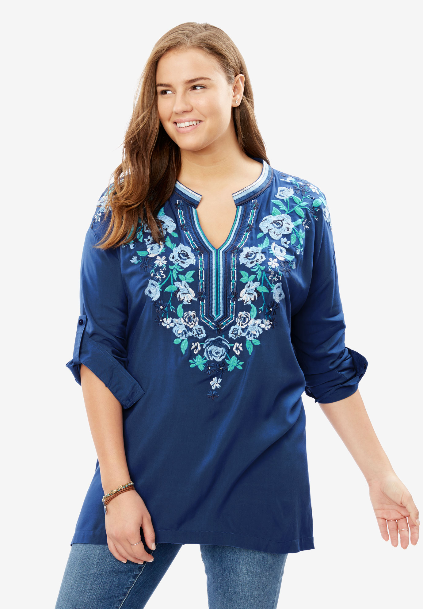 Notch-Neck Embroidered Roll-Sleeve Tunic, NAVY FLORAL EMBROIDERY, hi-res