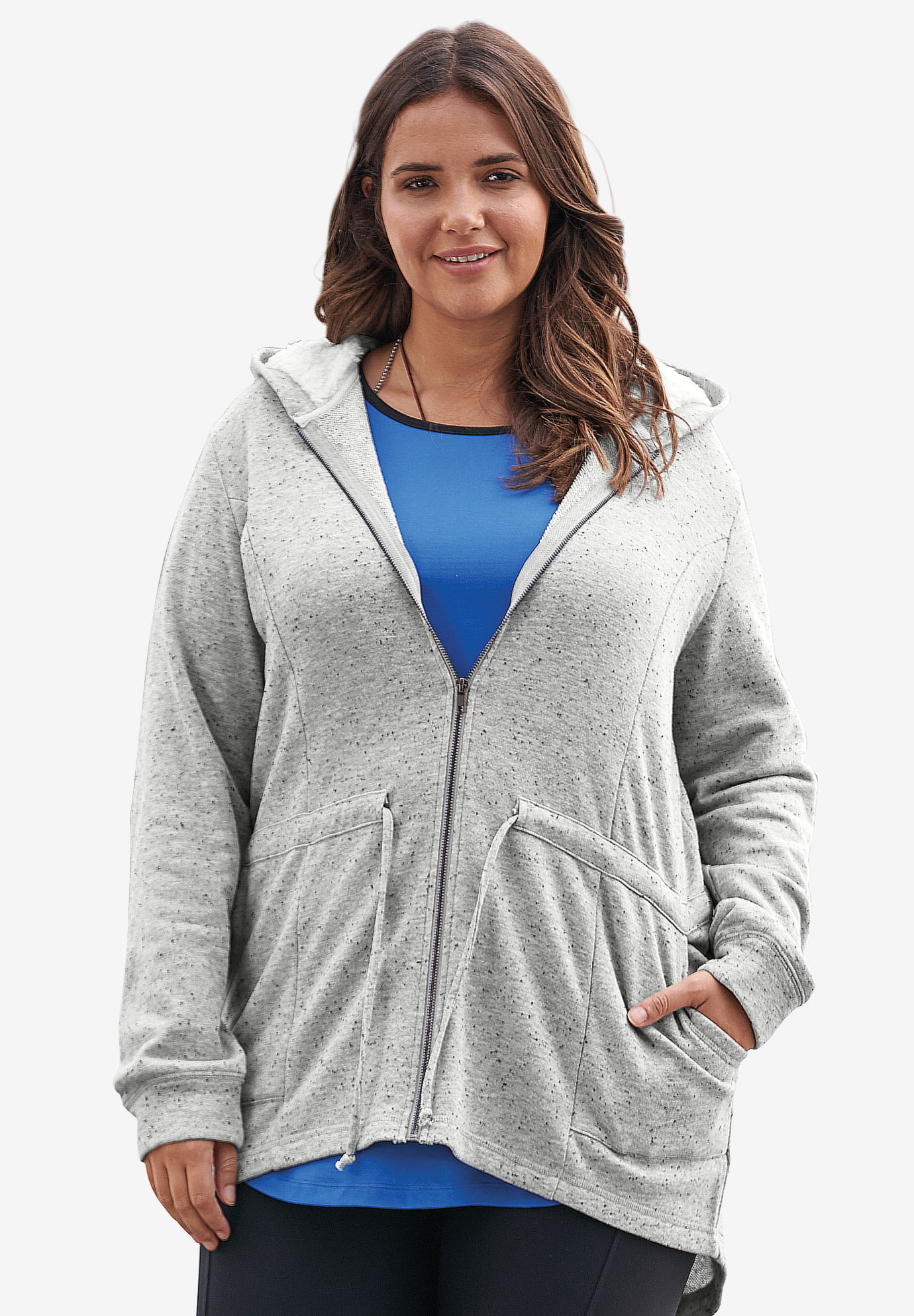 Zip-Front Hoodie, HEATHER GREY, hi-res