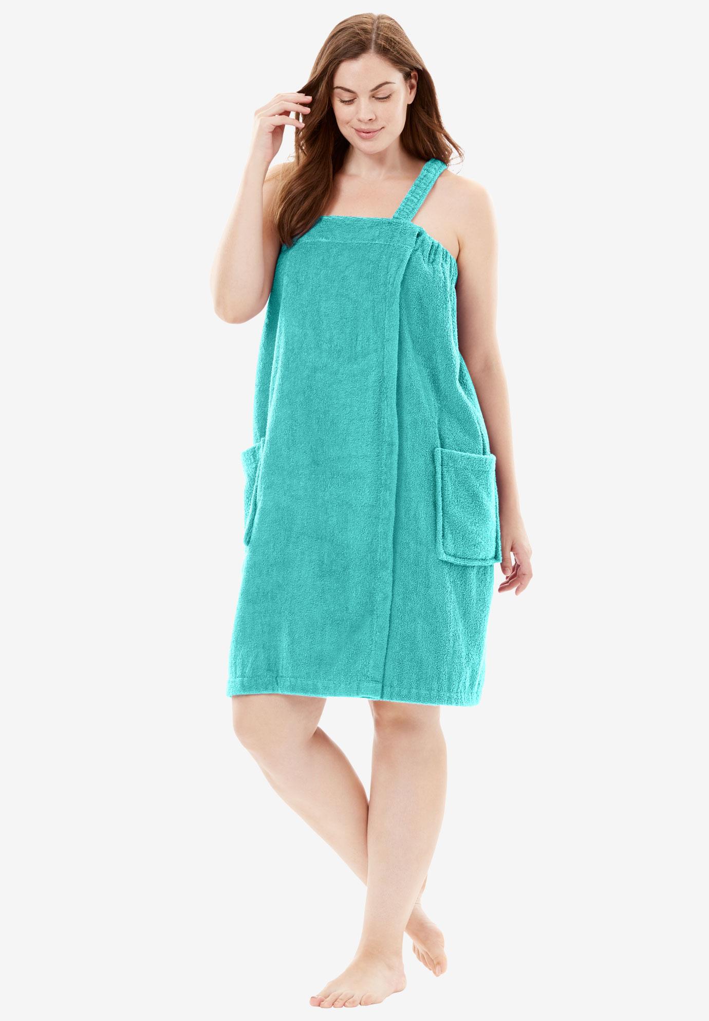 Womens Plus Size Terry Towel Wrap Dreams /& Co