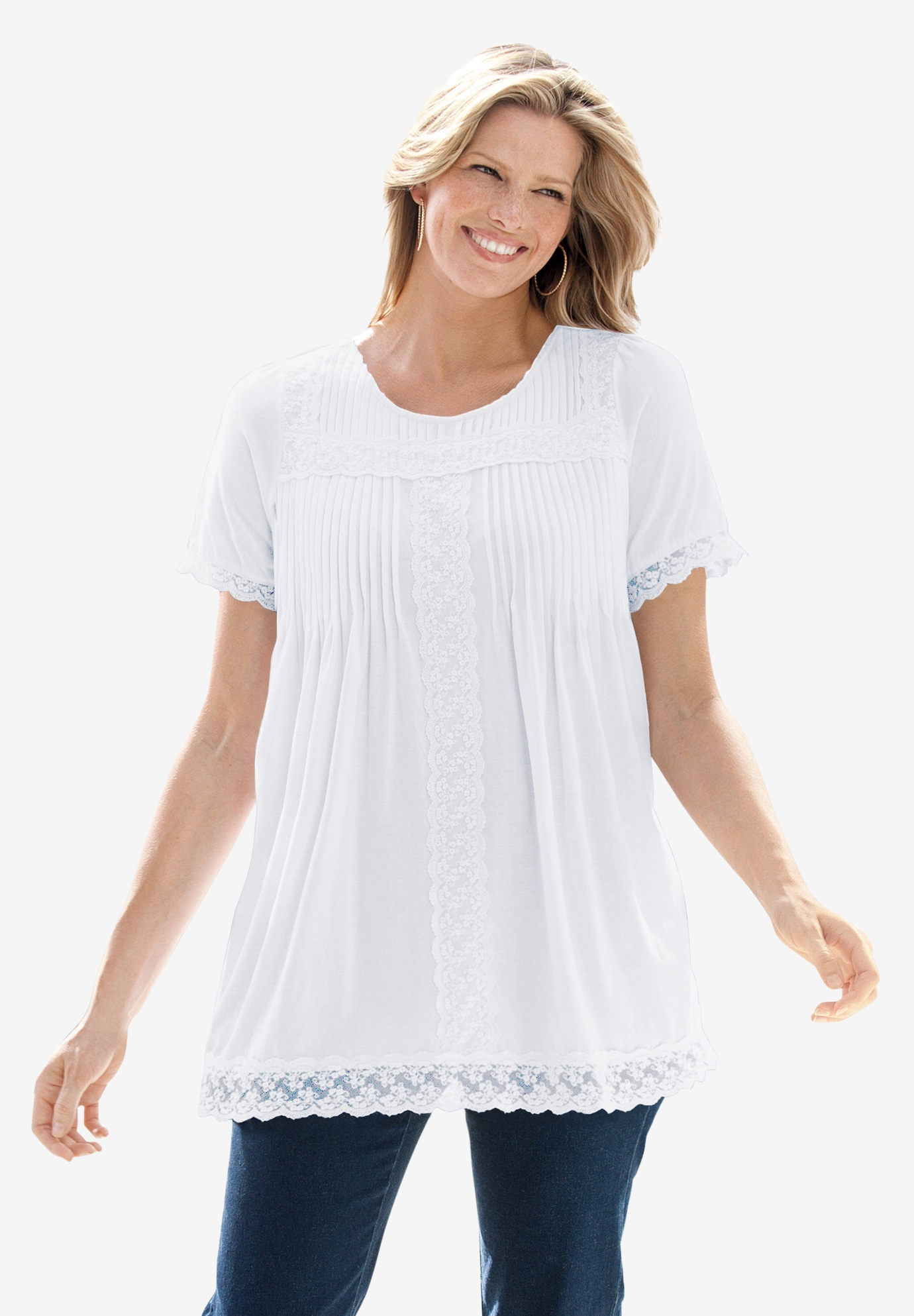 Lace-trimmed cotton tunic, WHITE, hi-res