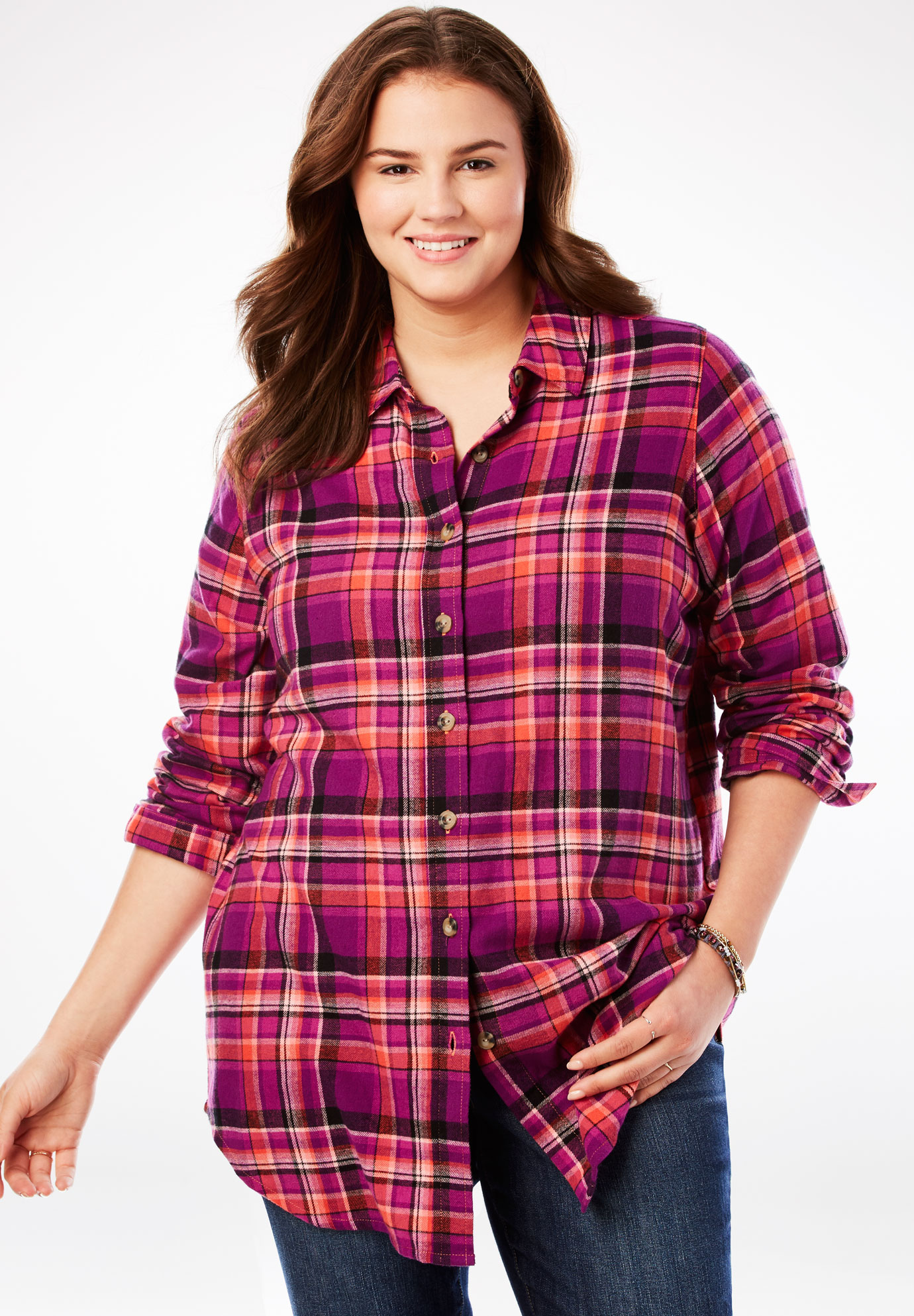 Classic Flannel Shirt Plus Size Shirts Blouses Woman Within