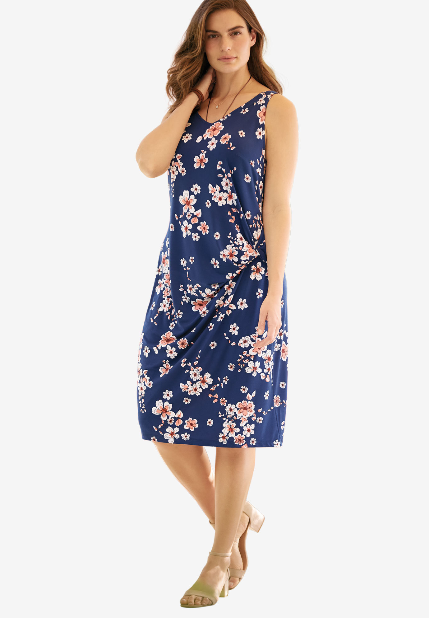 Side-Ruched Travel Mixer Dress, EVENING BLUE FLORAL PETAL, hi-res