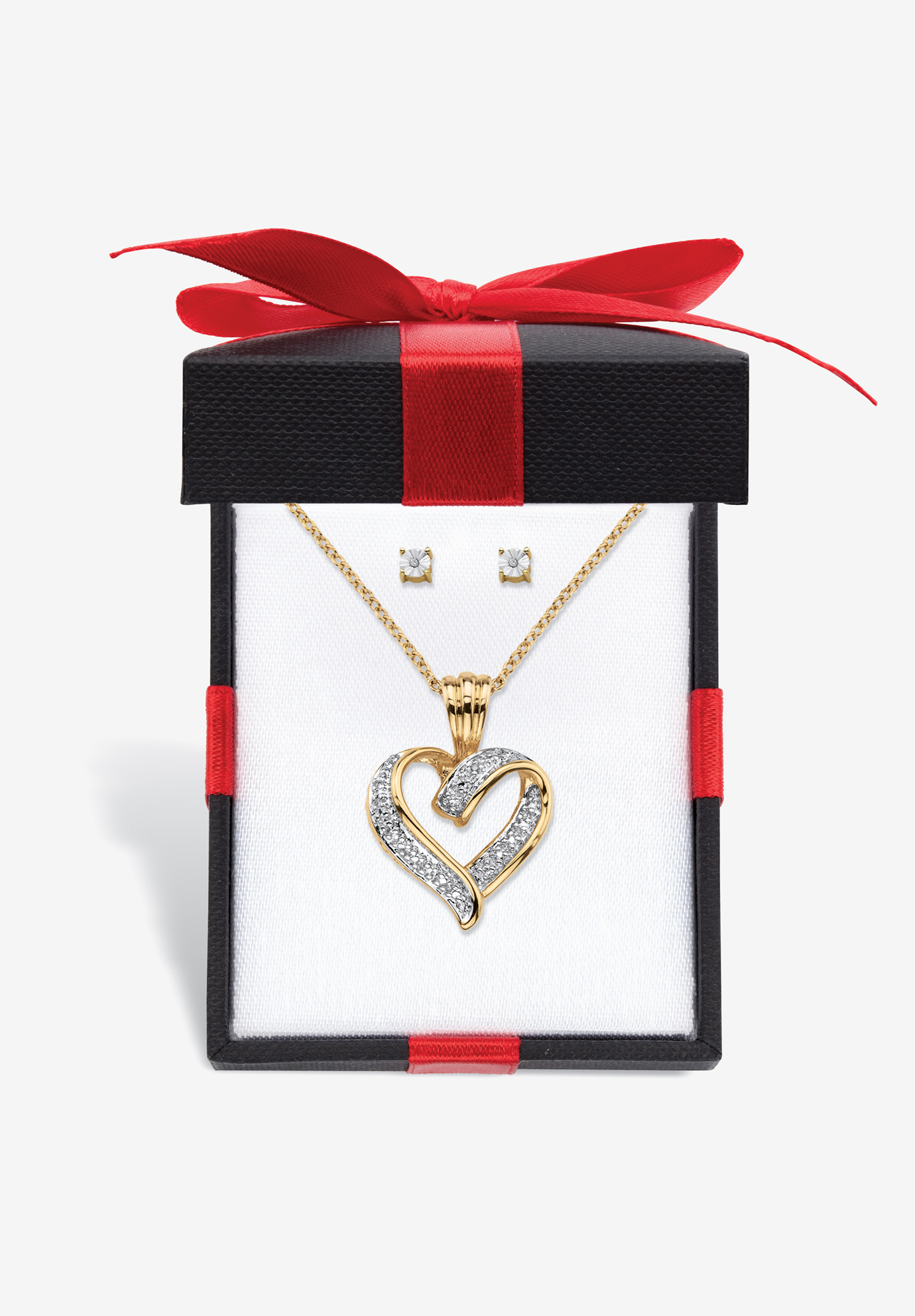 "Yellow Gold-Plated Heart Pendant with Genuine Diamond Accent on 18"" Chain, DIAMOND"