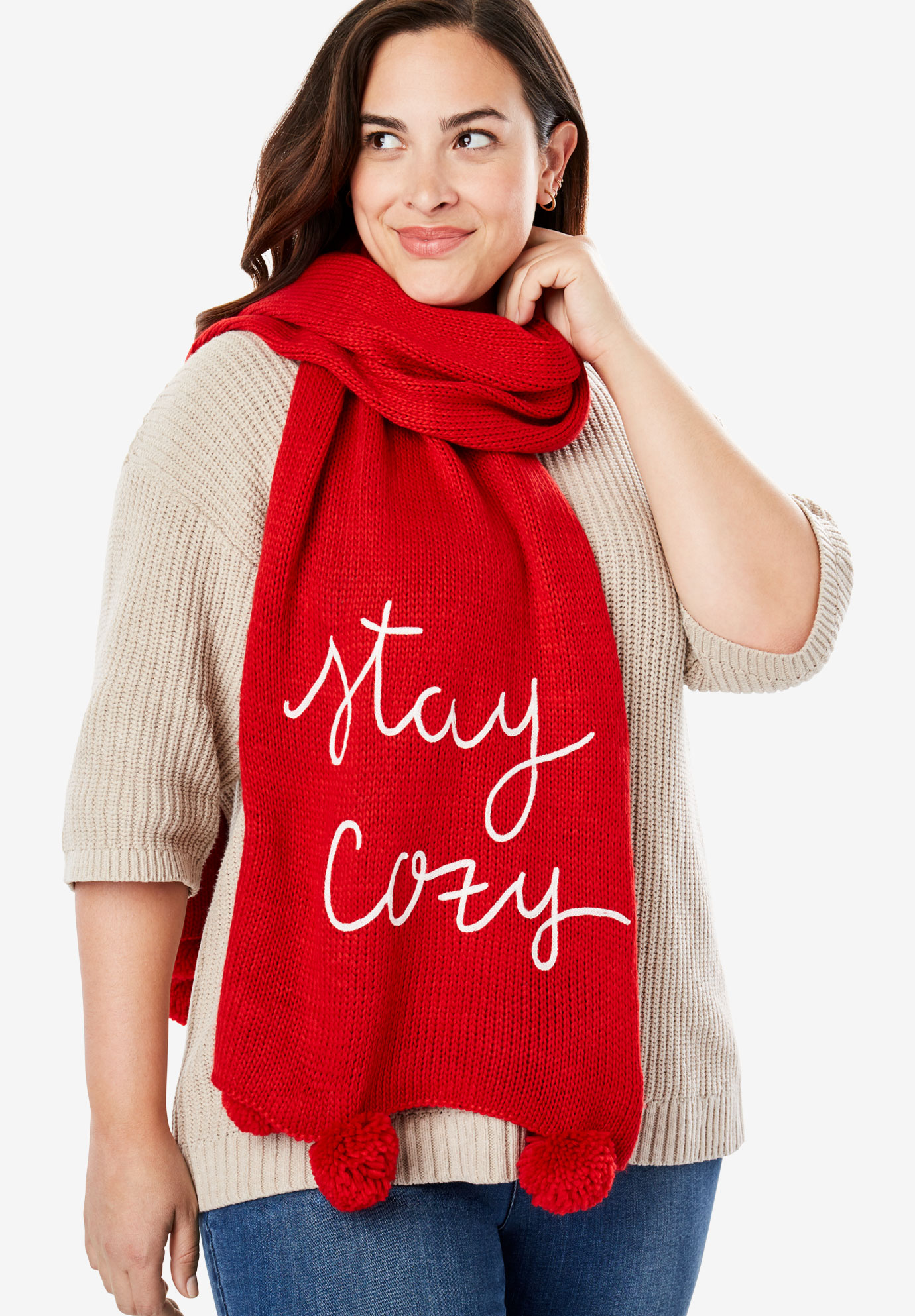 Graphic Pom-Pom Scarf, RED STAY COZY