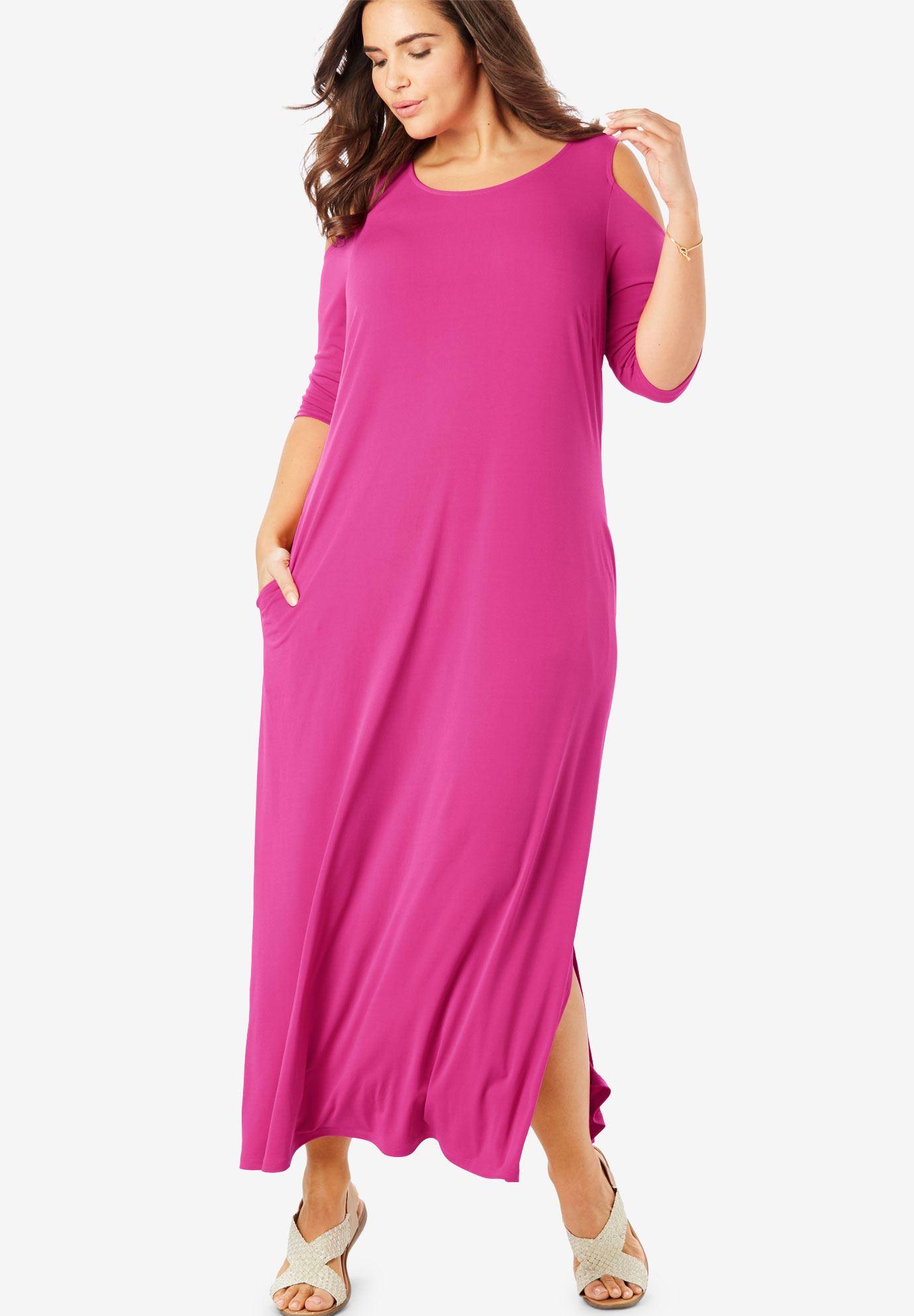 Cold-shoulder A-line maxi dress | Plus Size Black Dresses | Woman Within
