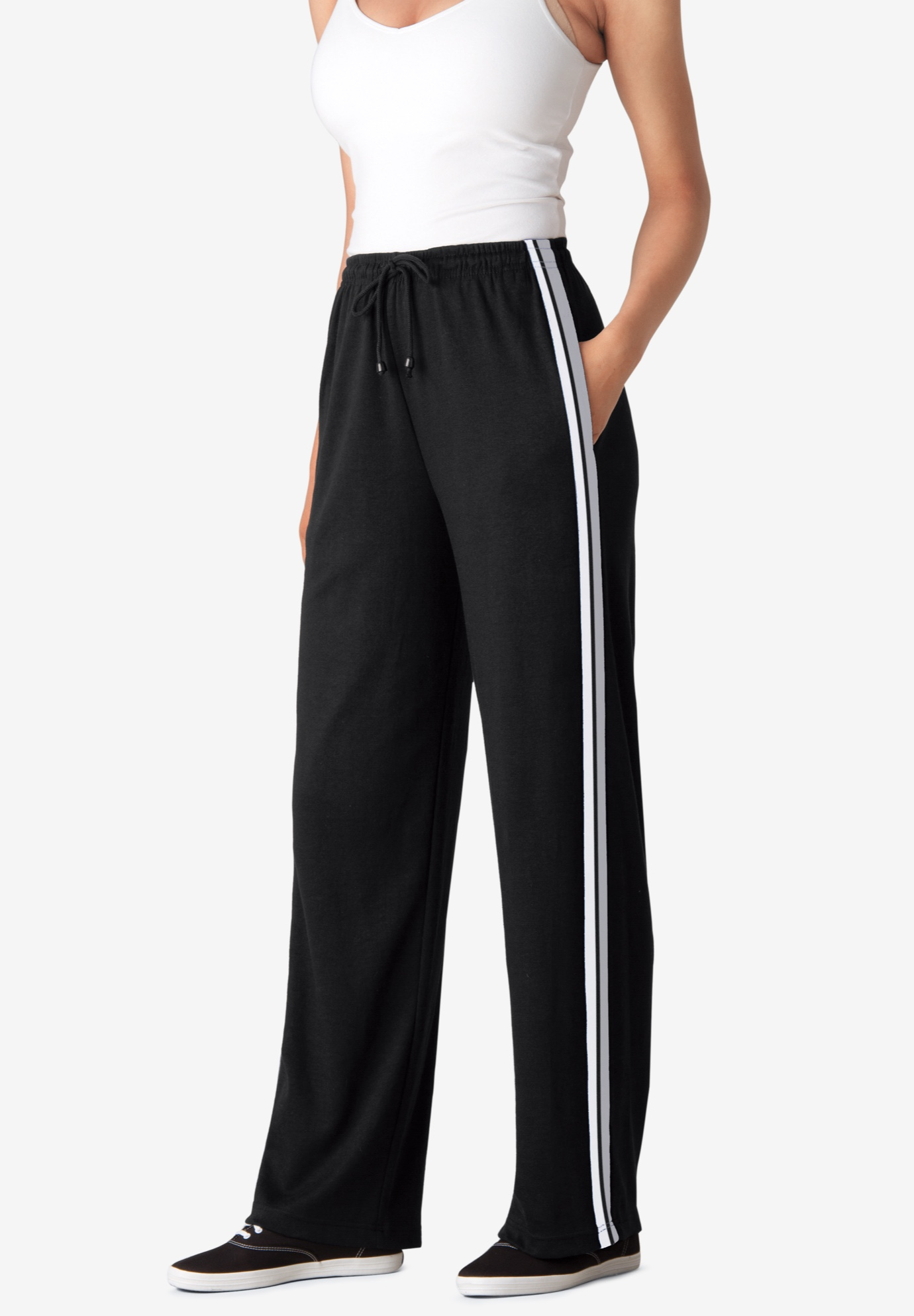 Side-Stripe Sport Knit Pants, BLACK WHITE HEATHER GREY, hi-res