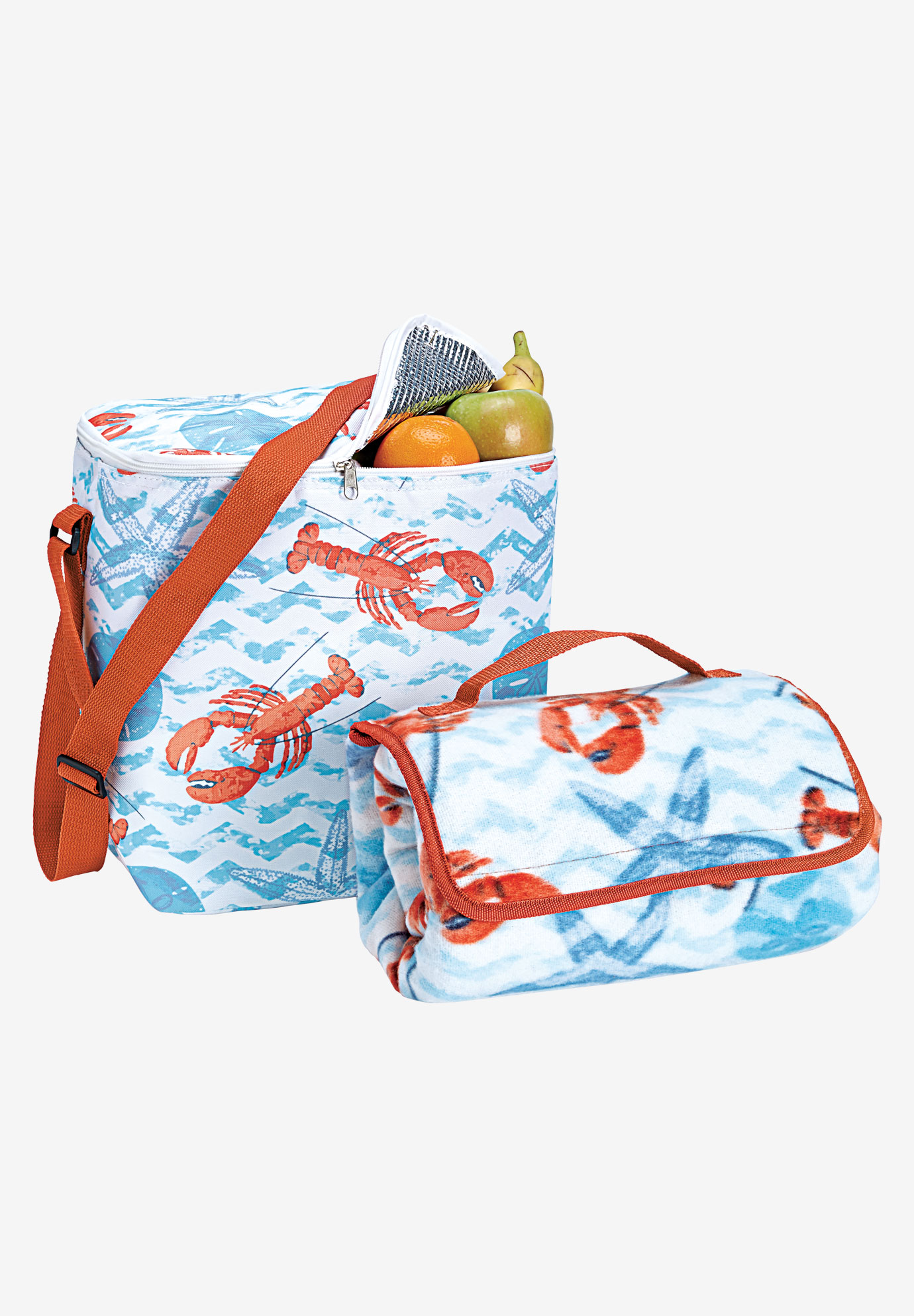 2PC Cooler bag & beach blanket set, LOBSTER PRINT