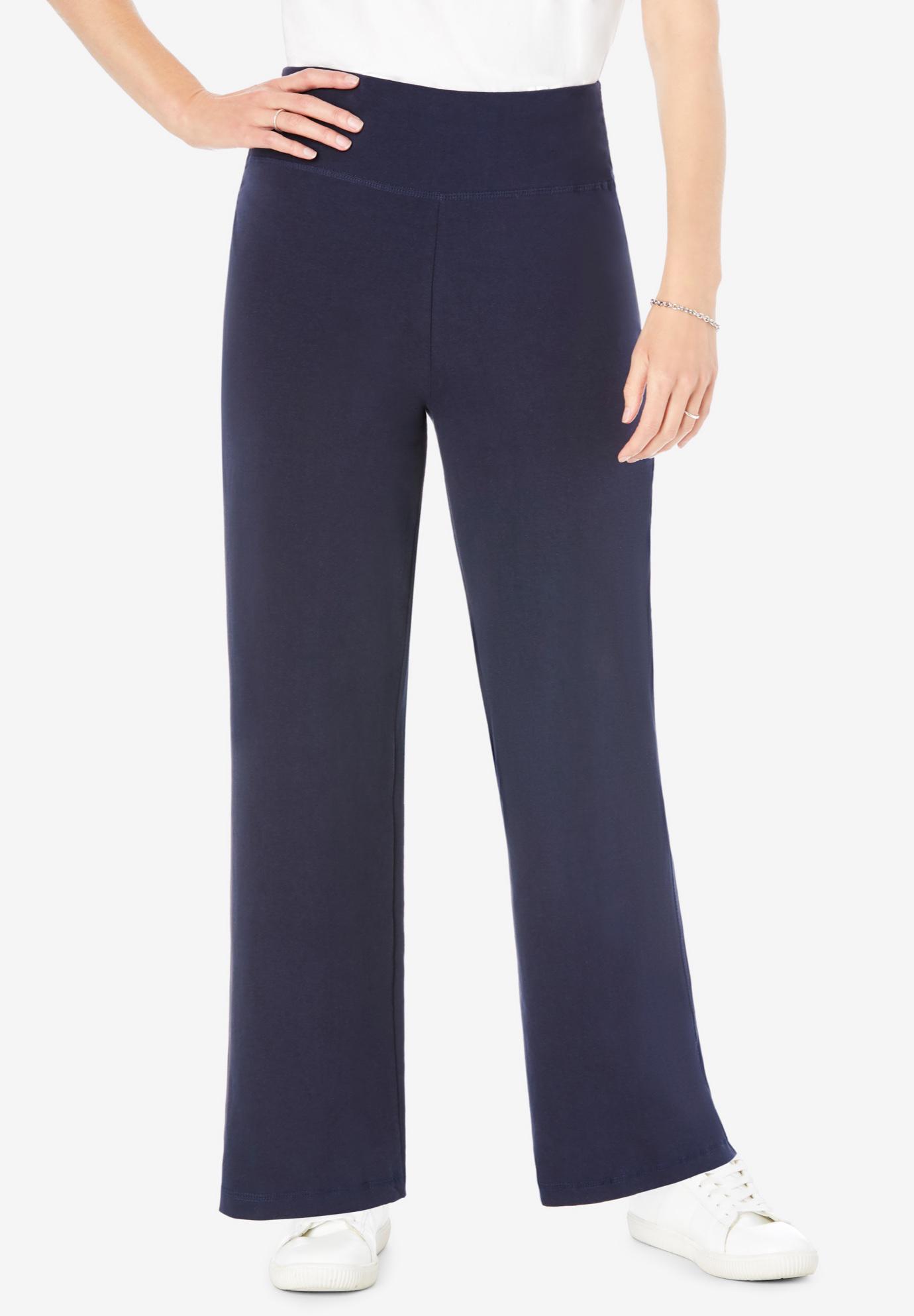 24f3e07631d5 Stretch Cotton Wide Leg Pant| Plus Size Pants | Woman Within