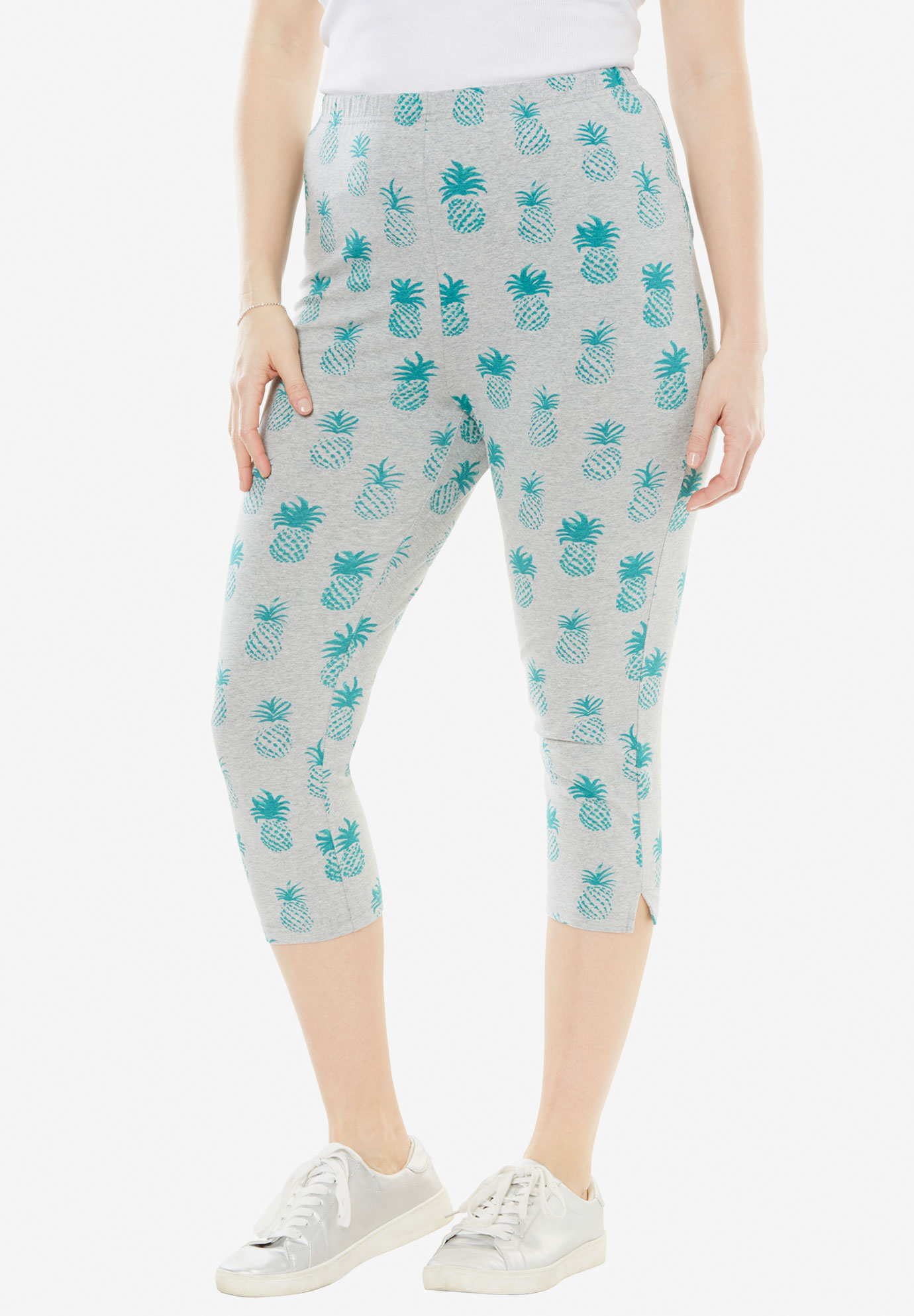Stretch Cotton Printed Capri Legging, HEATHER GREY PINEAPPLE, hi-res