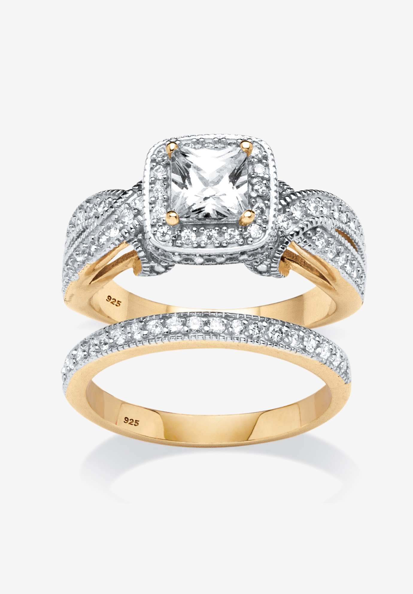 Gold over Silver Bridal Ring Set Cubic Zirconia (1 3/4 cttw TDW),