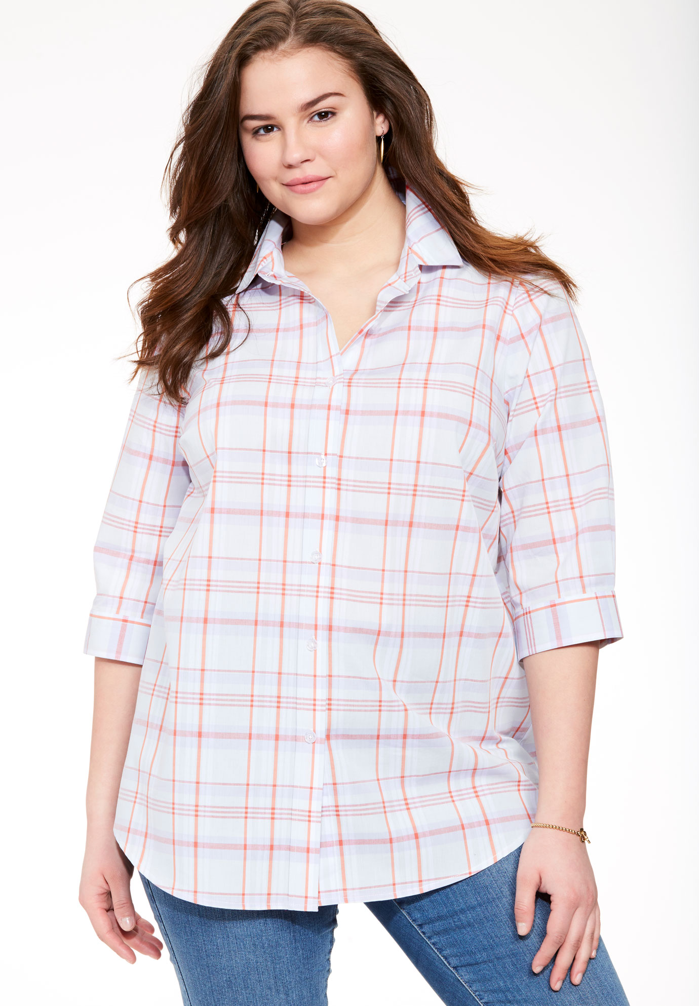 The Perfect bigshirt with 3/4 sleeves, ORANGE PLAID, hi-res