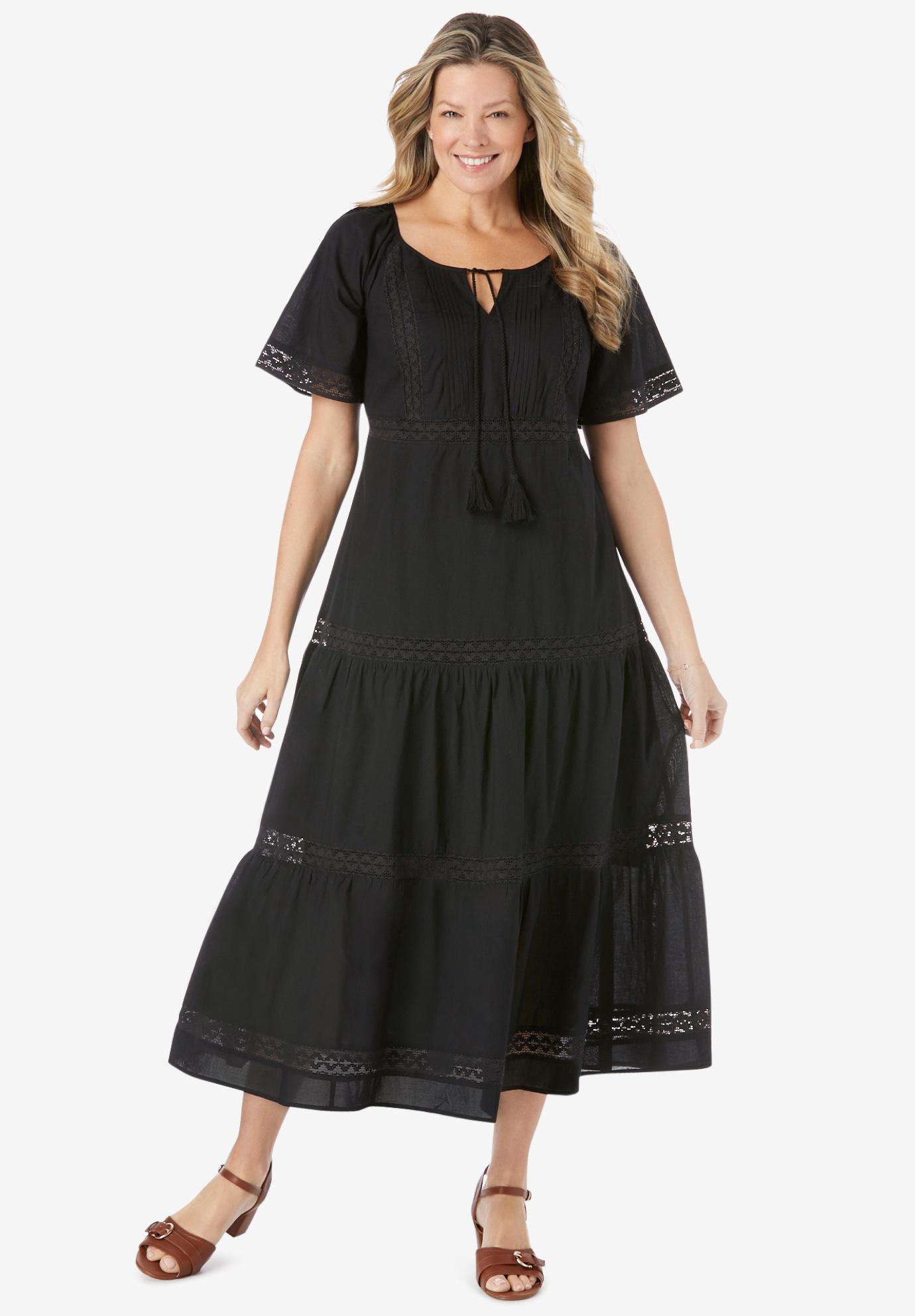 31f3ac27a5c Crochet Trim Tassel-Tie Dress