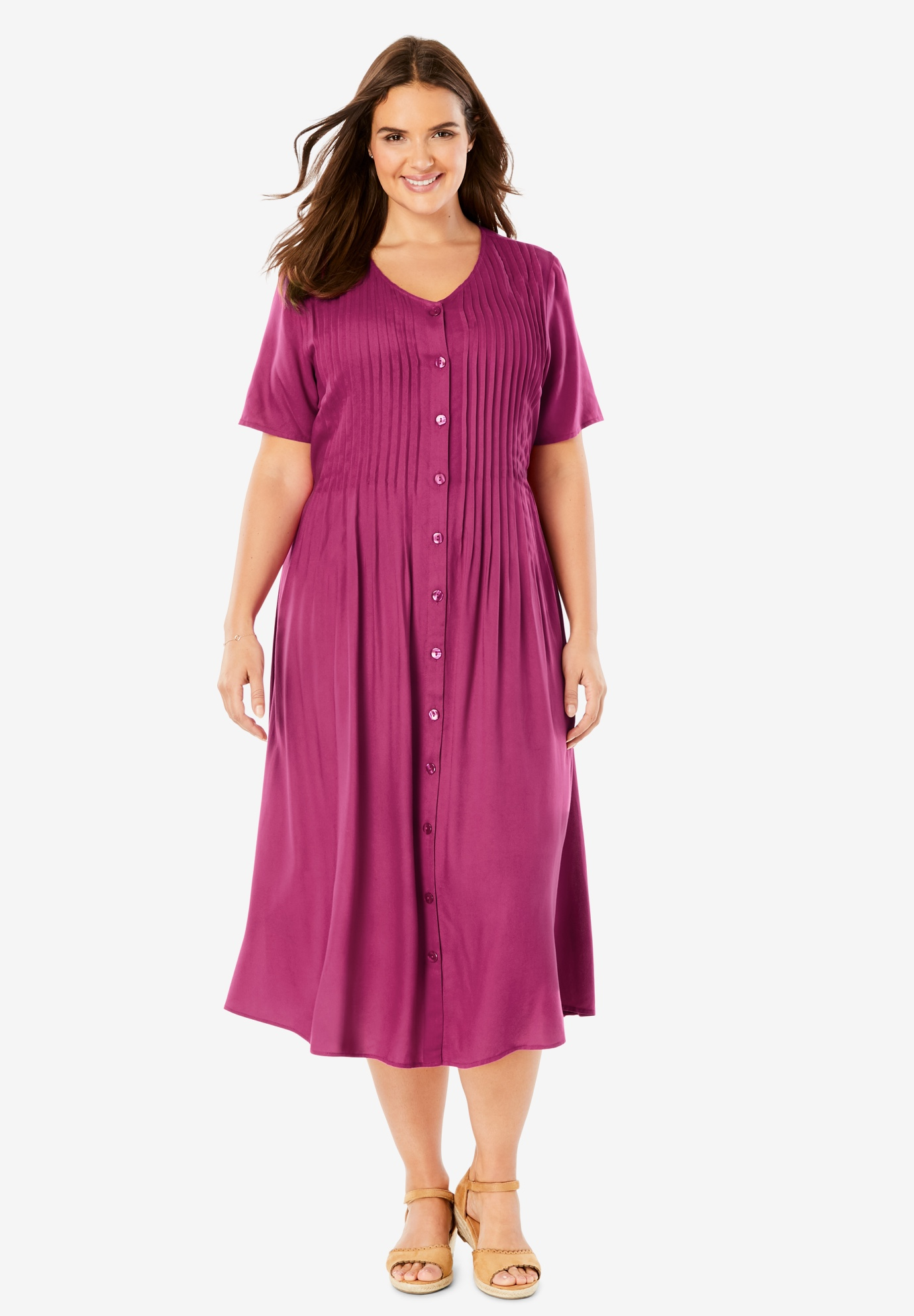 Short-Sleeve Button-Front Dress,