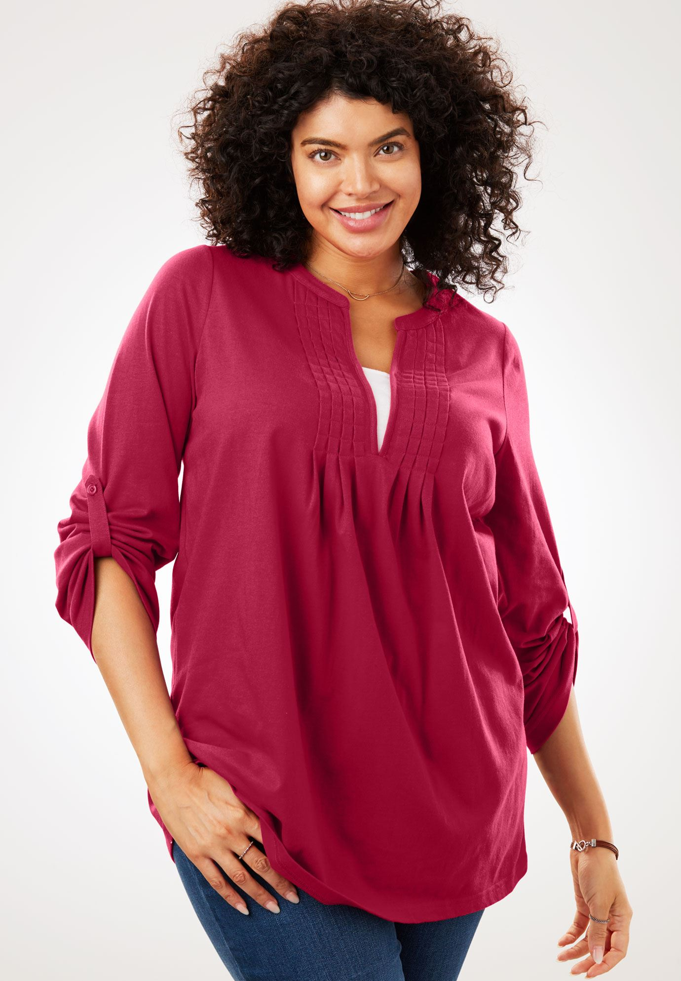 Box-Stitched Split Neck Tunic,