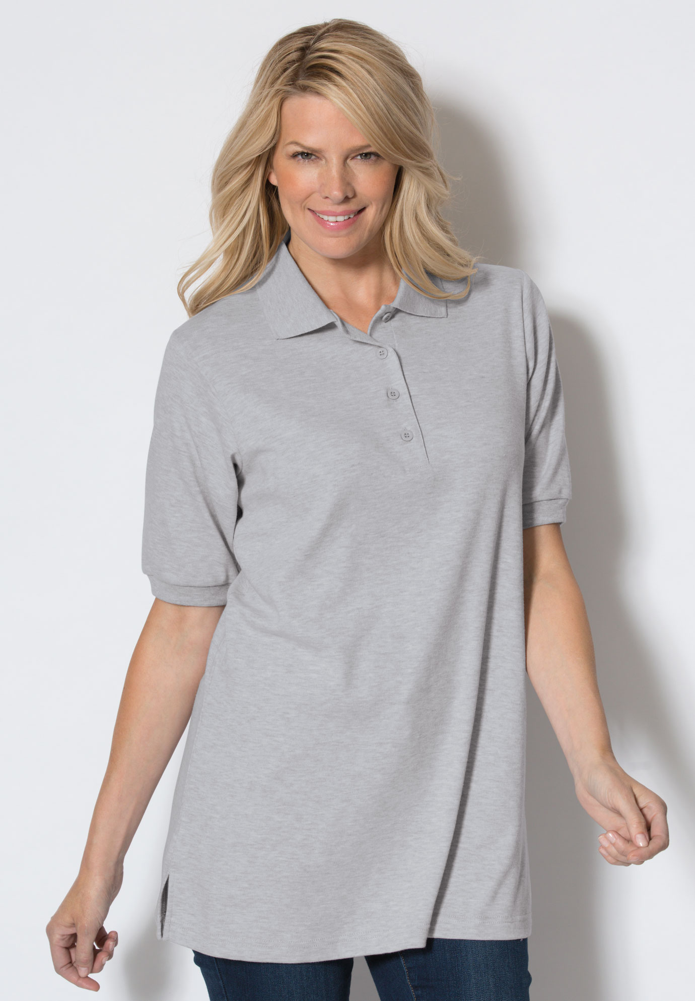 Top, tunic length, generous fit polo, HEATHER GREY, hi-res