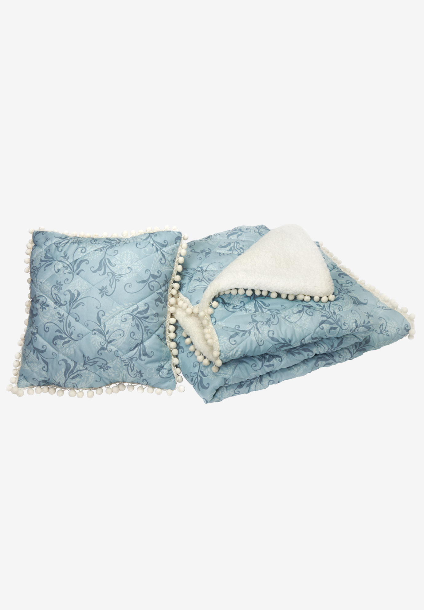 Pom-Pom Throw & Pillow Set, GREY SCROLL