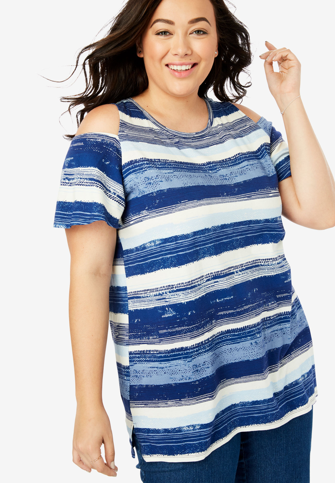 Short Sleeve Cutout Cold-Shoulder Tee,