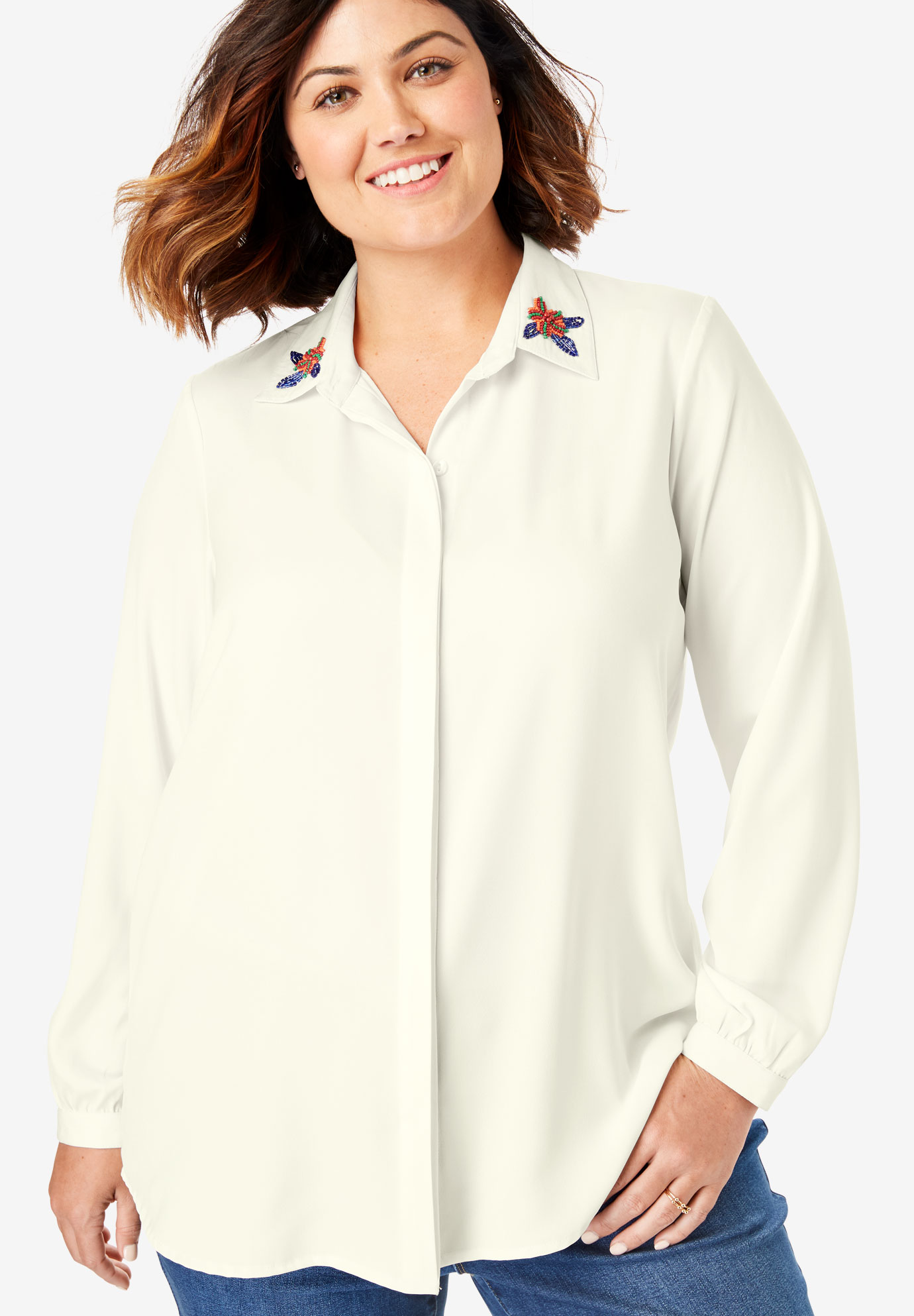 Embellished-Collar Button Down Shirt,