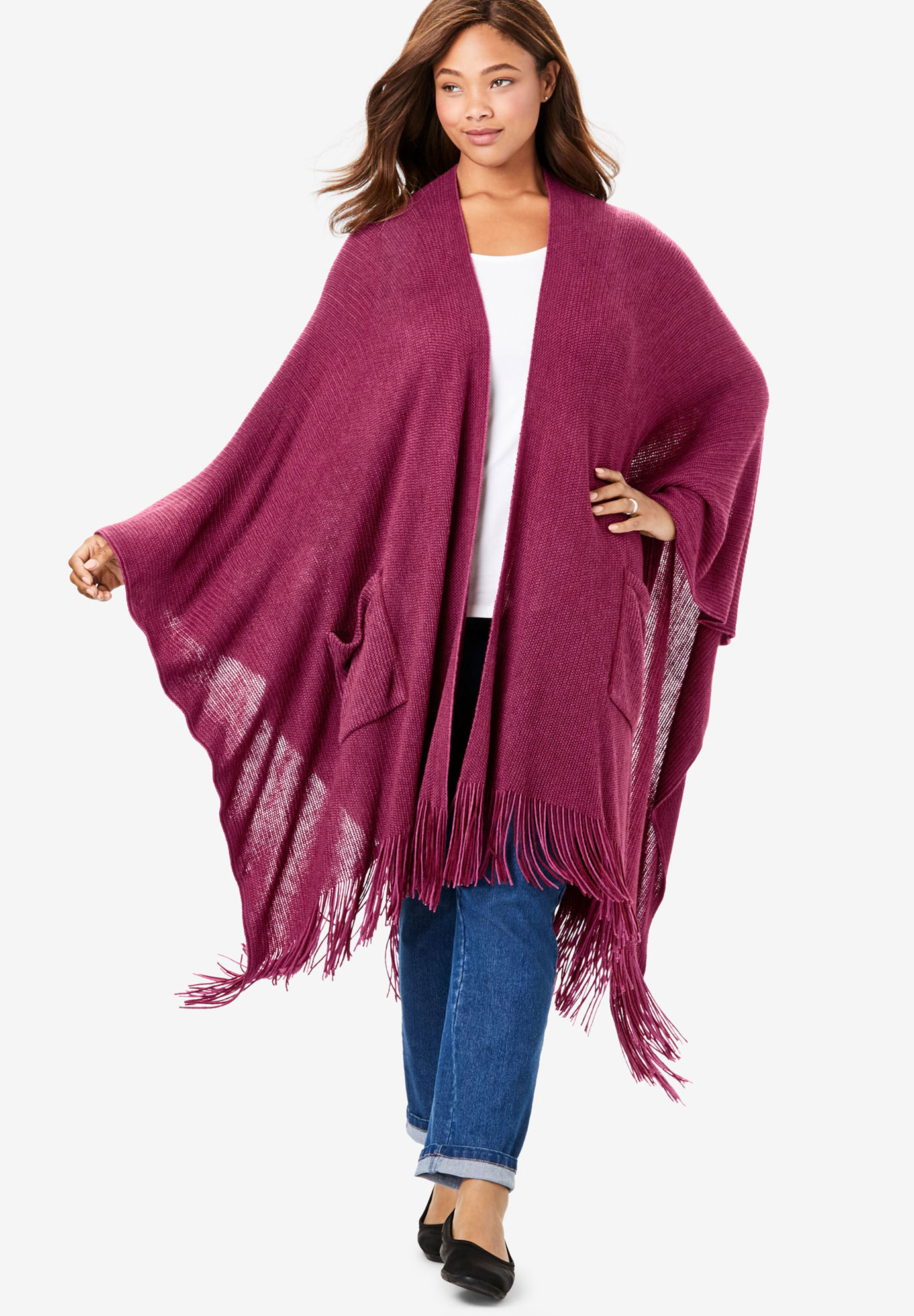 Long Fringed Cape, DEEP CRANBERRY
