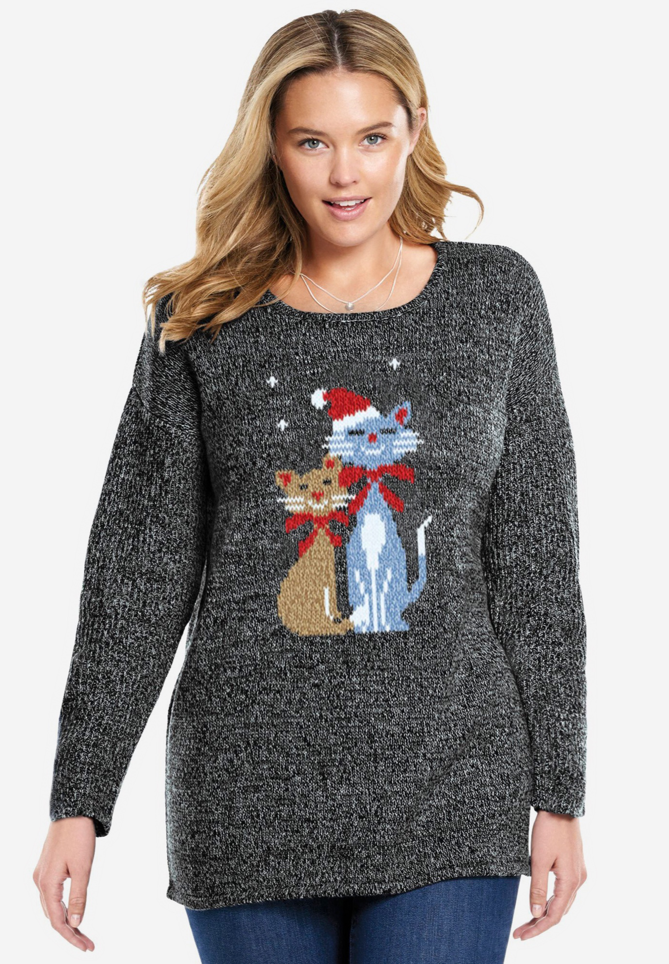Pullover sweater with holiday motifs,
