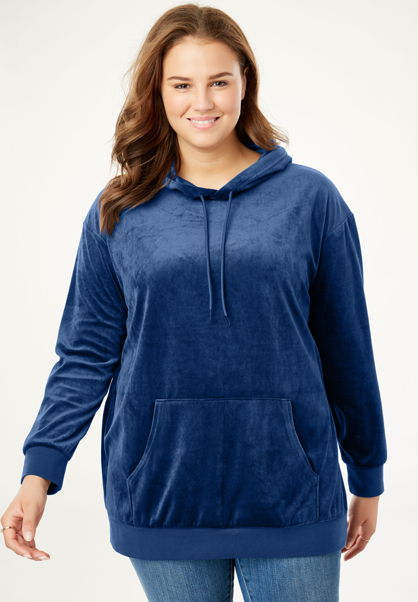 Velour Hooded Sweatshirt,