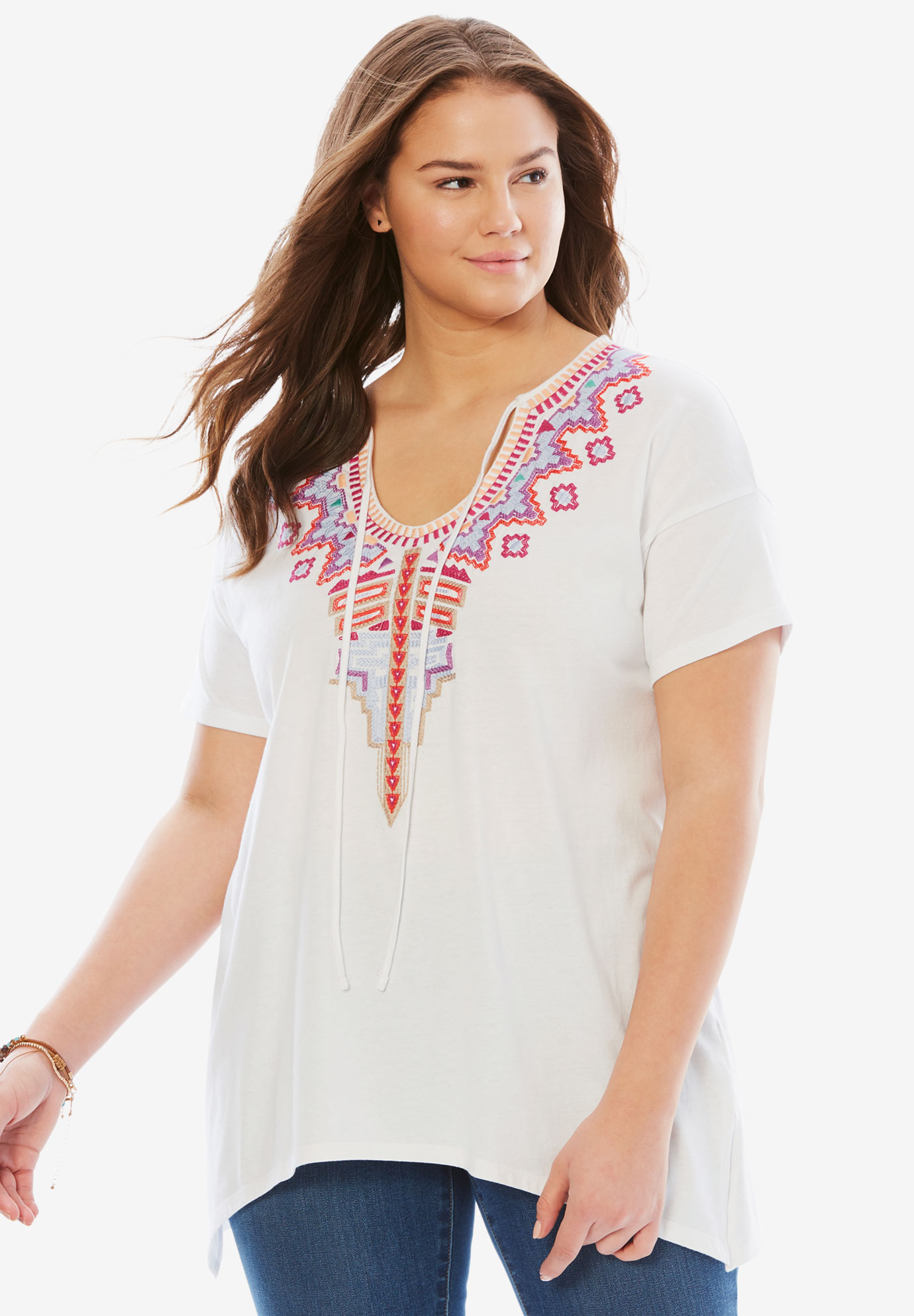 Short sleeve embroidered peasant tee, WHITE MULTI EMBROIDERY, hi-res