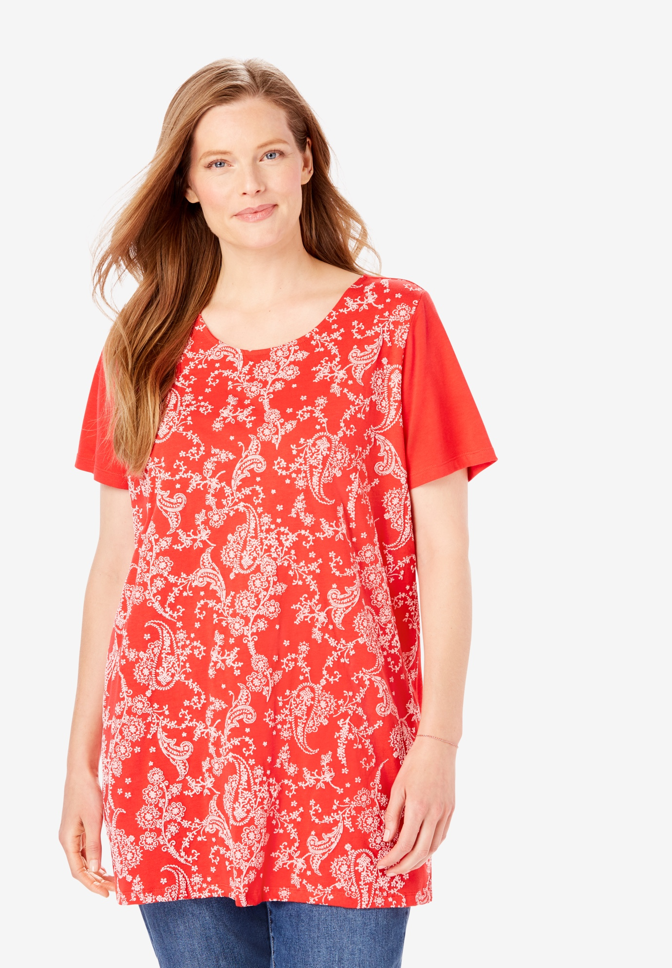 Short-Sleeve Puff Print Tunic,
