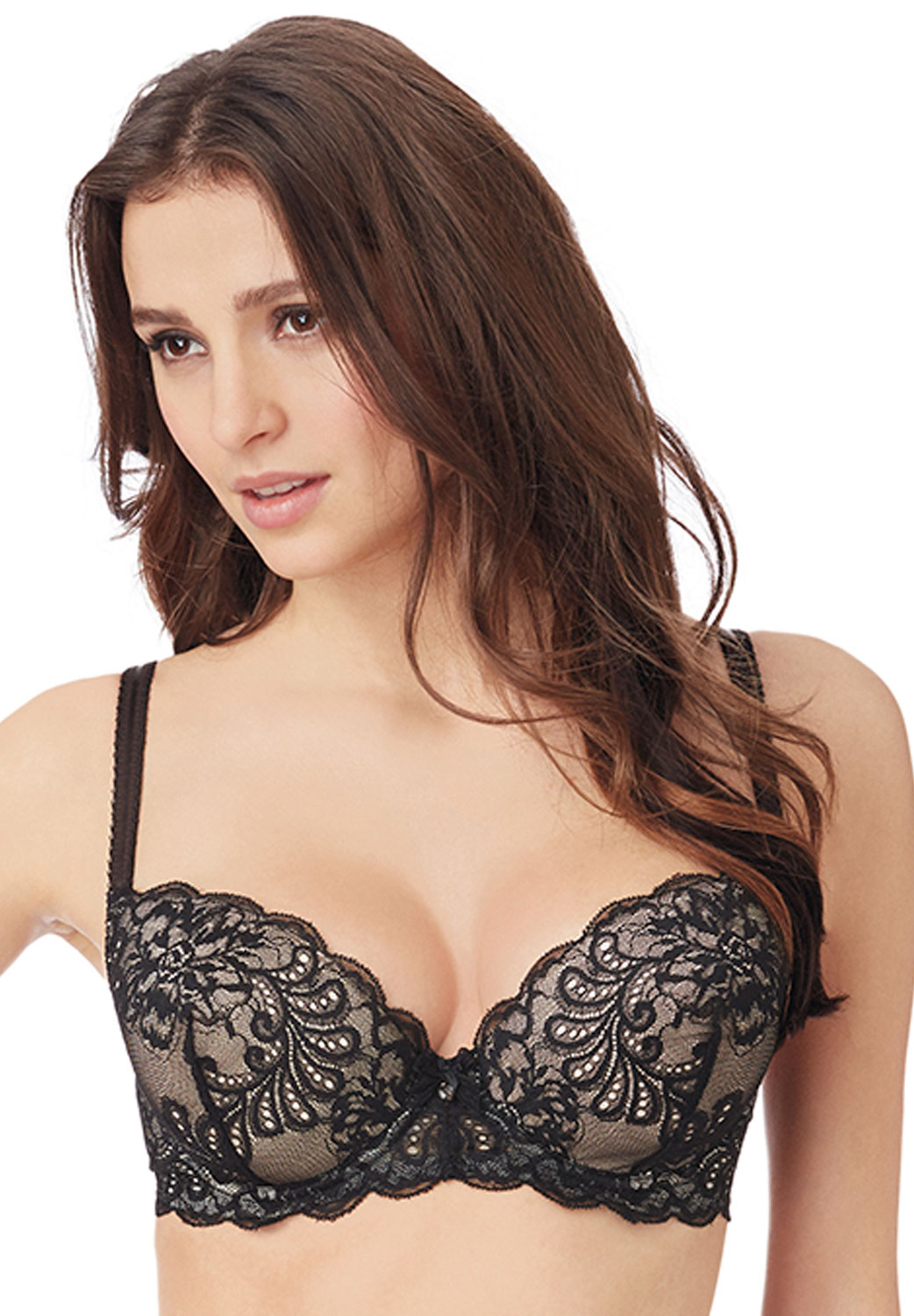 Sophia Lace Memory Foam Bra by LeMystere®, BLACK, hi-res
