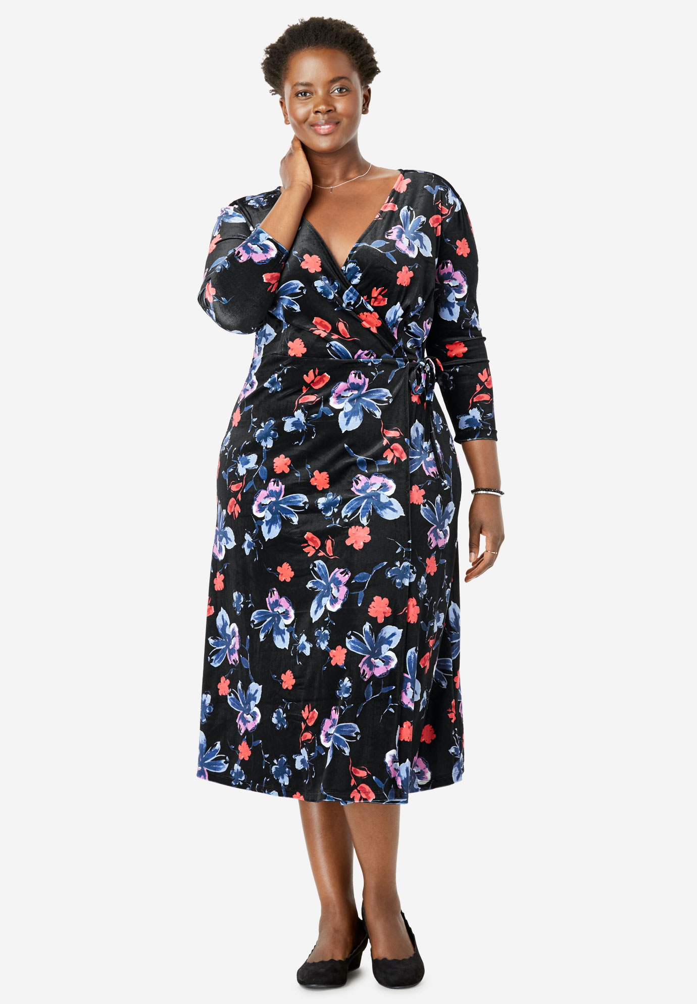 Printed Crinkle Velour Faux Wrap Dress,