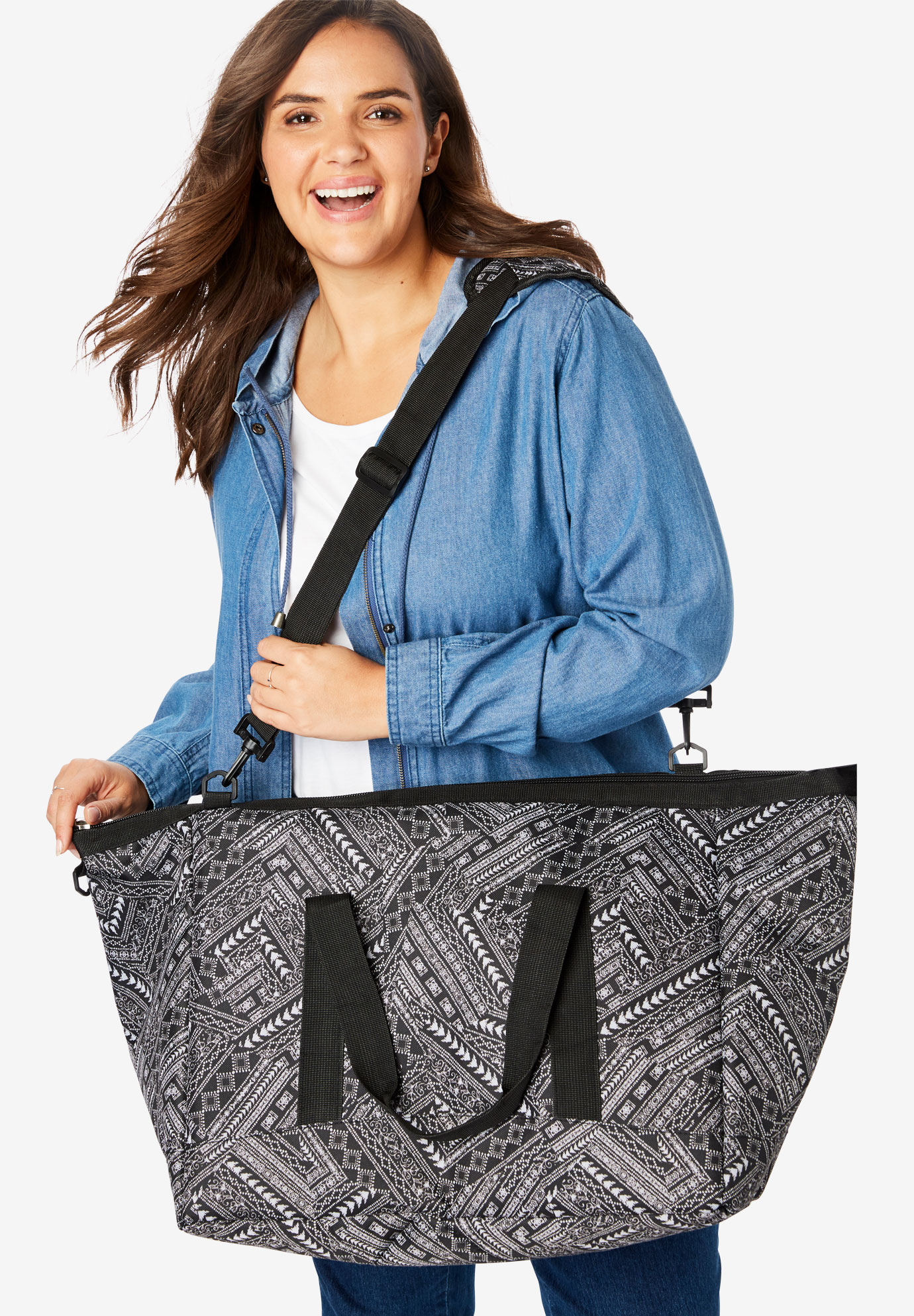 2-Piece Weekender Bag Set, BLACK GLOBAL PATCHWORK