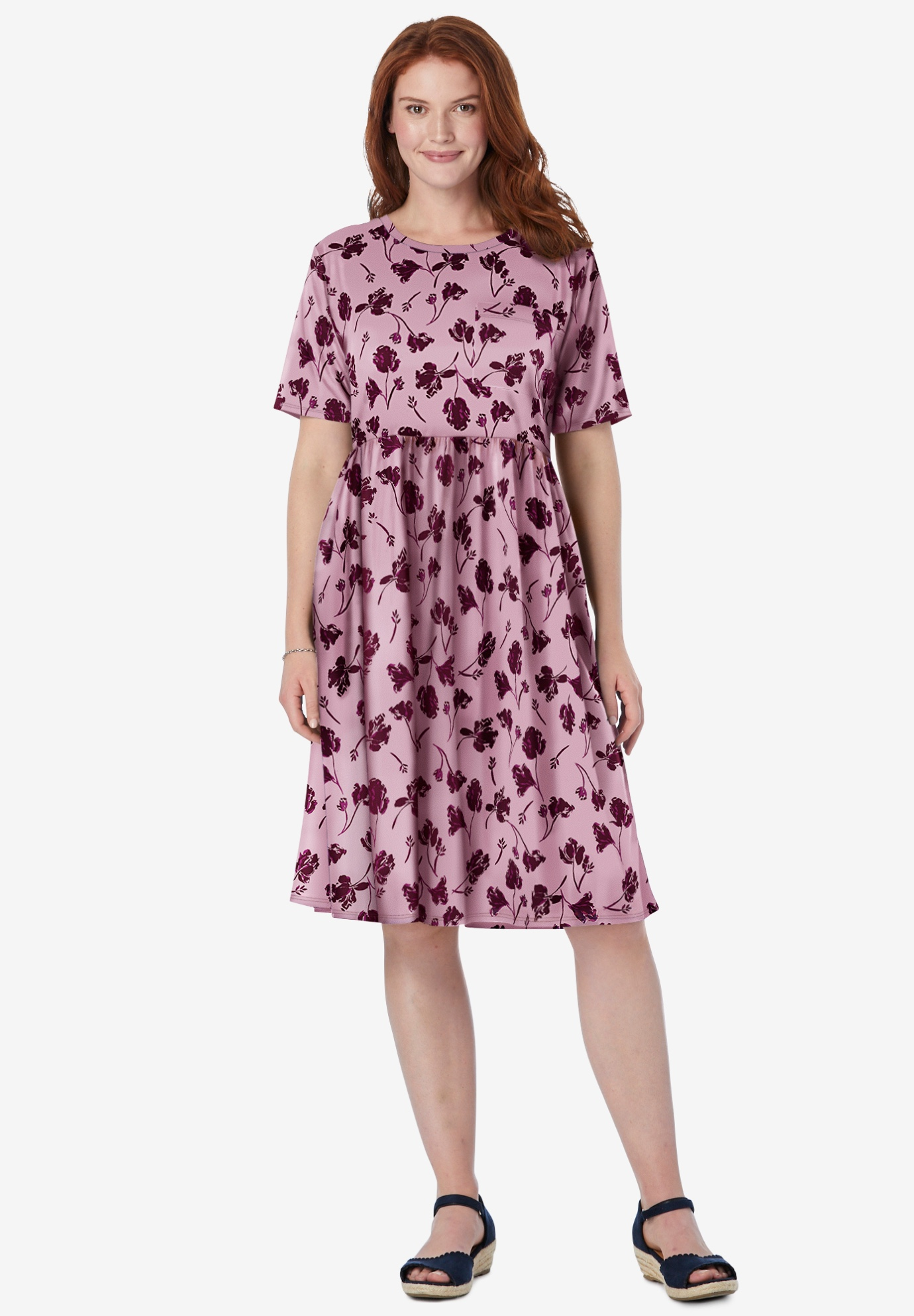 Flounce Tee Dress, ROSE MIST FALLING FLOWER, hi-res