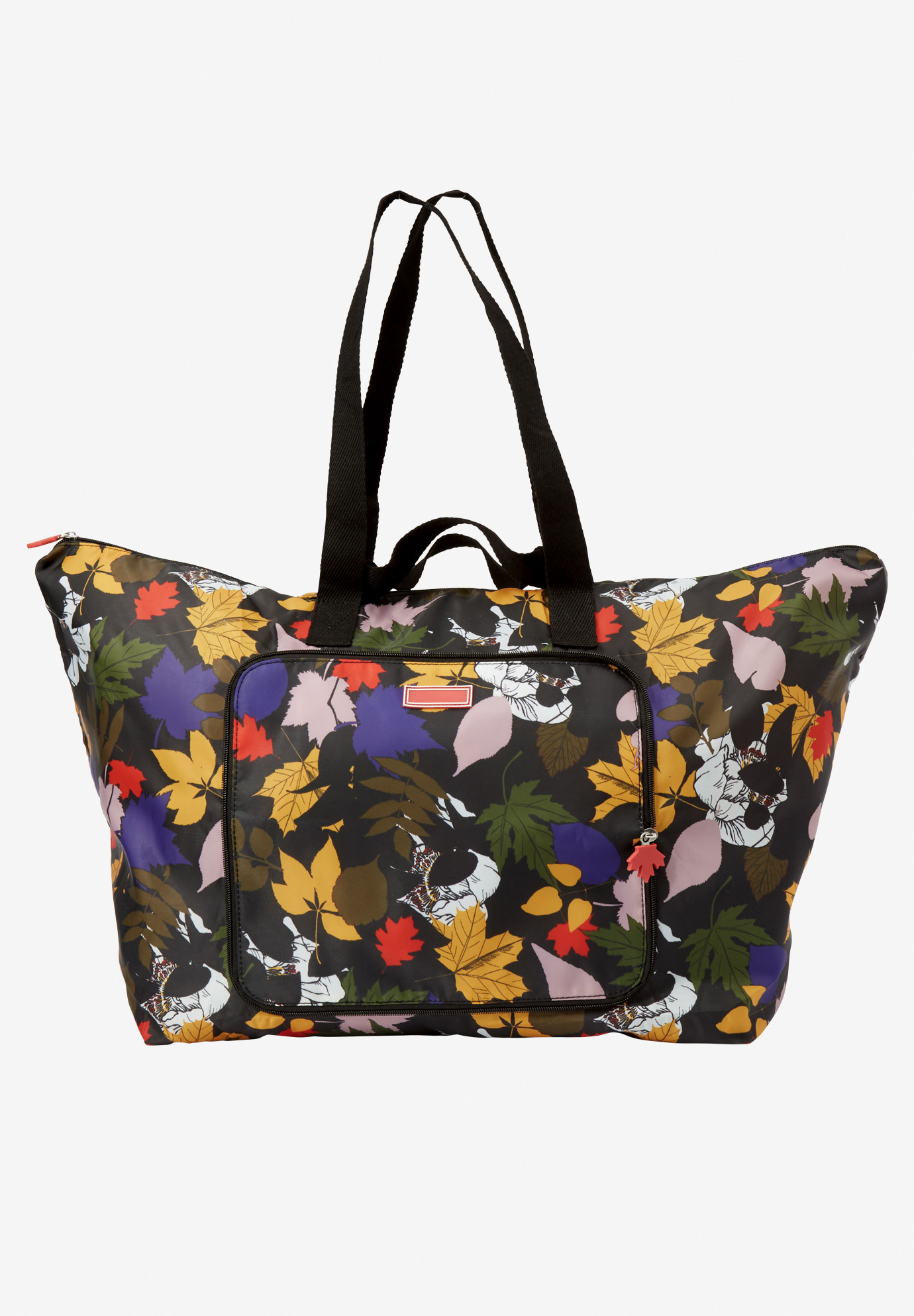 4-piece packble tote set, BLACK SCATTERED LEAVES