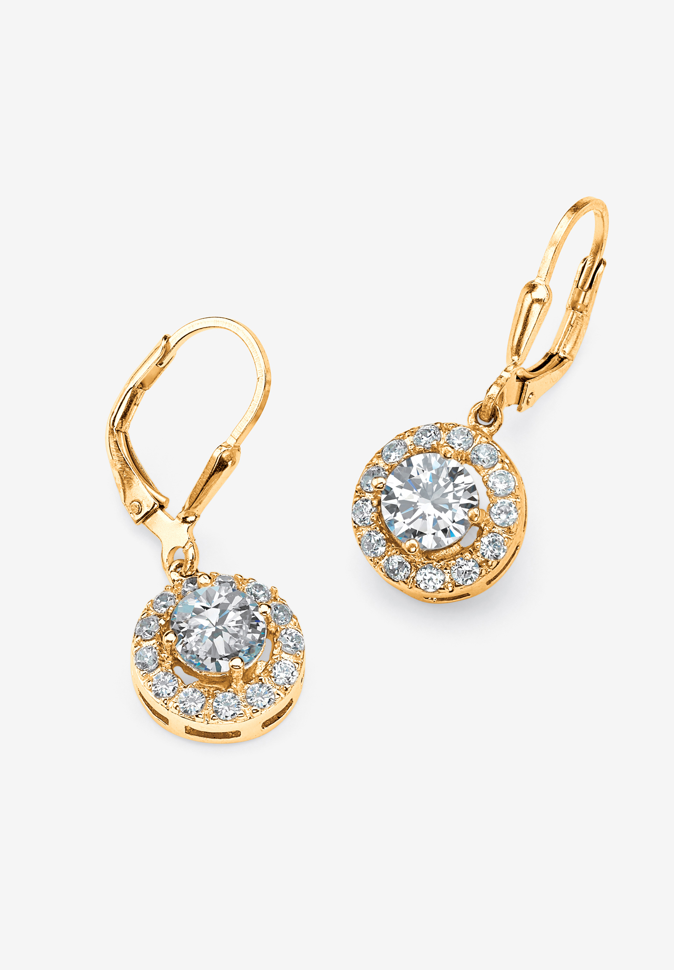 Gold over Sterling Silver Round Halo Drop Earrings Cubic Zirconia, GOLD