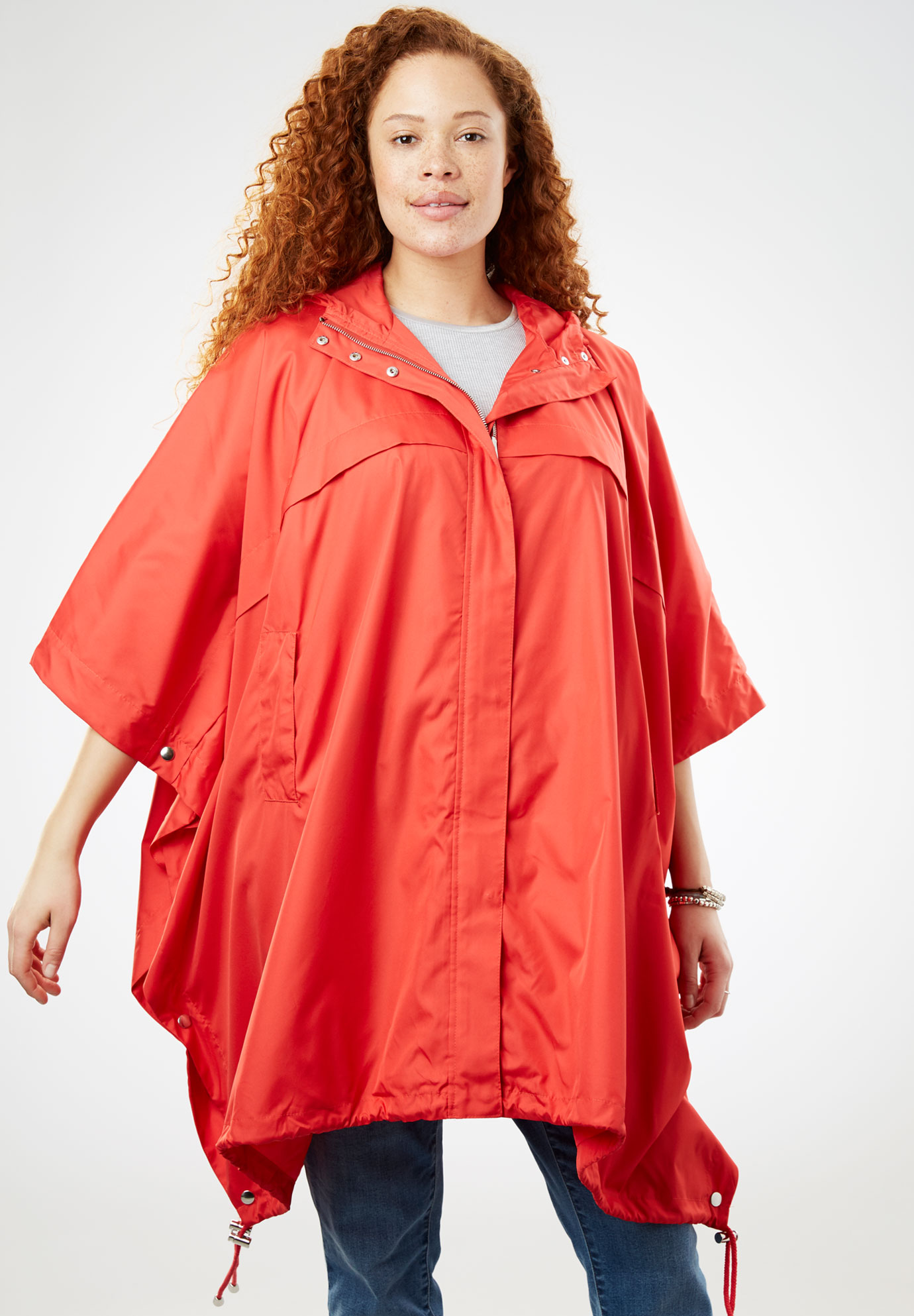 Packable Rain Cape, CORAL RED