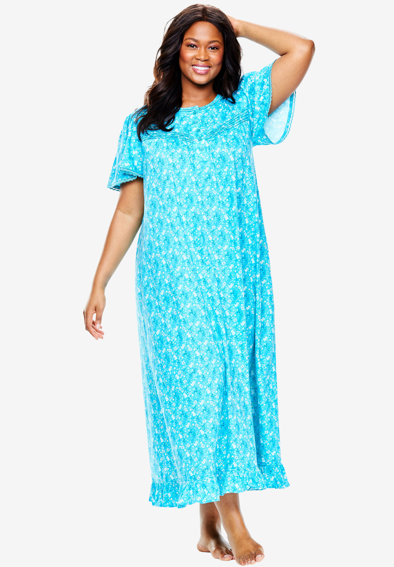 Long Cotton Gown by Dreams & Co® | Plus Size Sleep | Woman Within