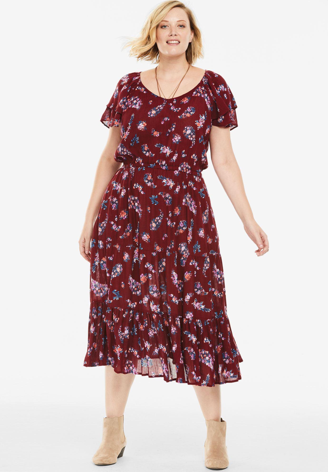 Flutter Sleeve Tiered Crinkle Dress | Plus Size Midi ... - photo #4