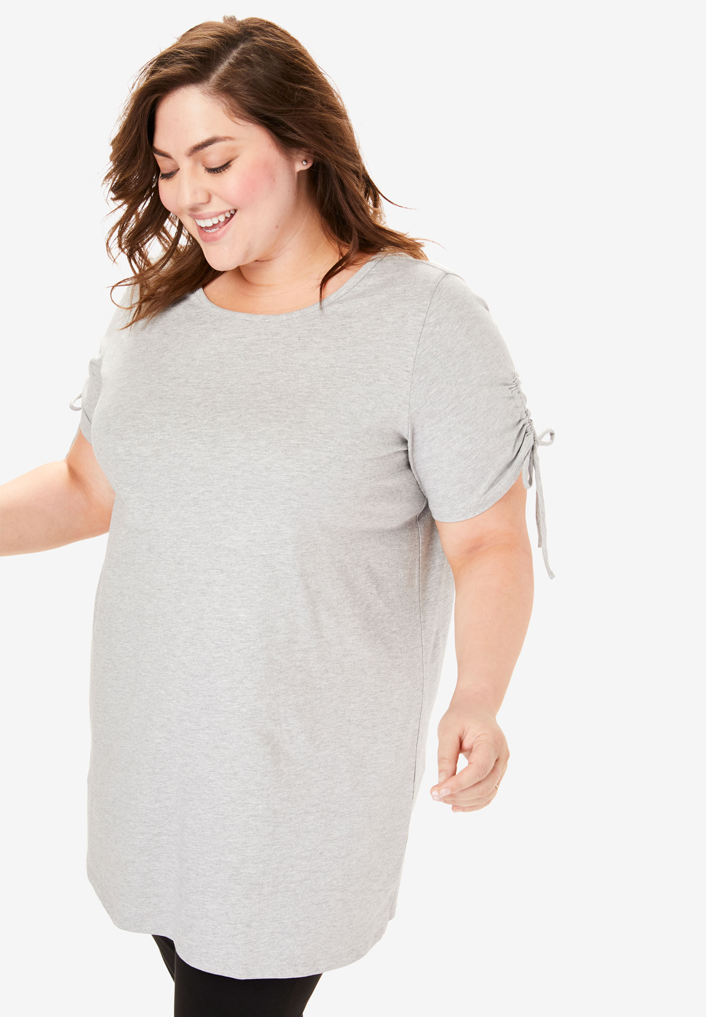 Perfect Ruched-Sleeve Scoop-Neck Tunic,