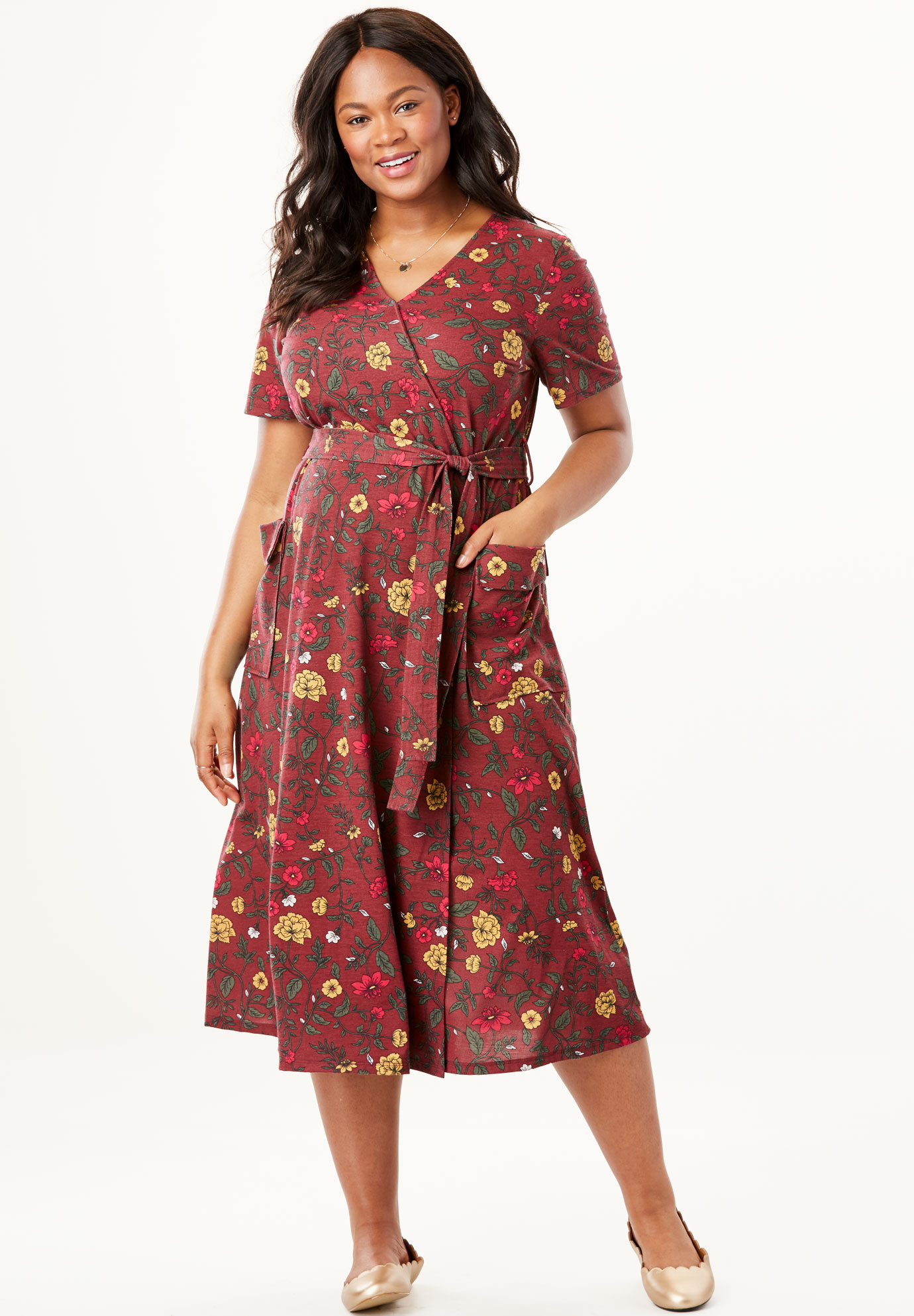 Midi Faux Wrap Dress | Plus Size Dresses | Woman Within - photo #11