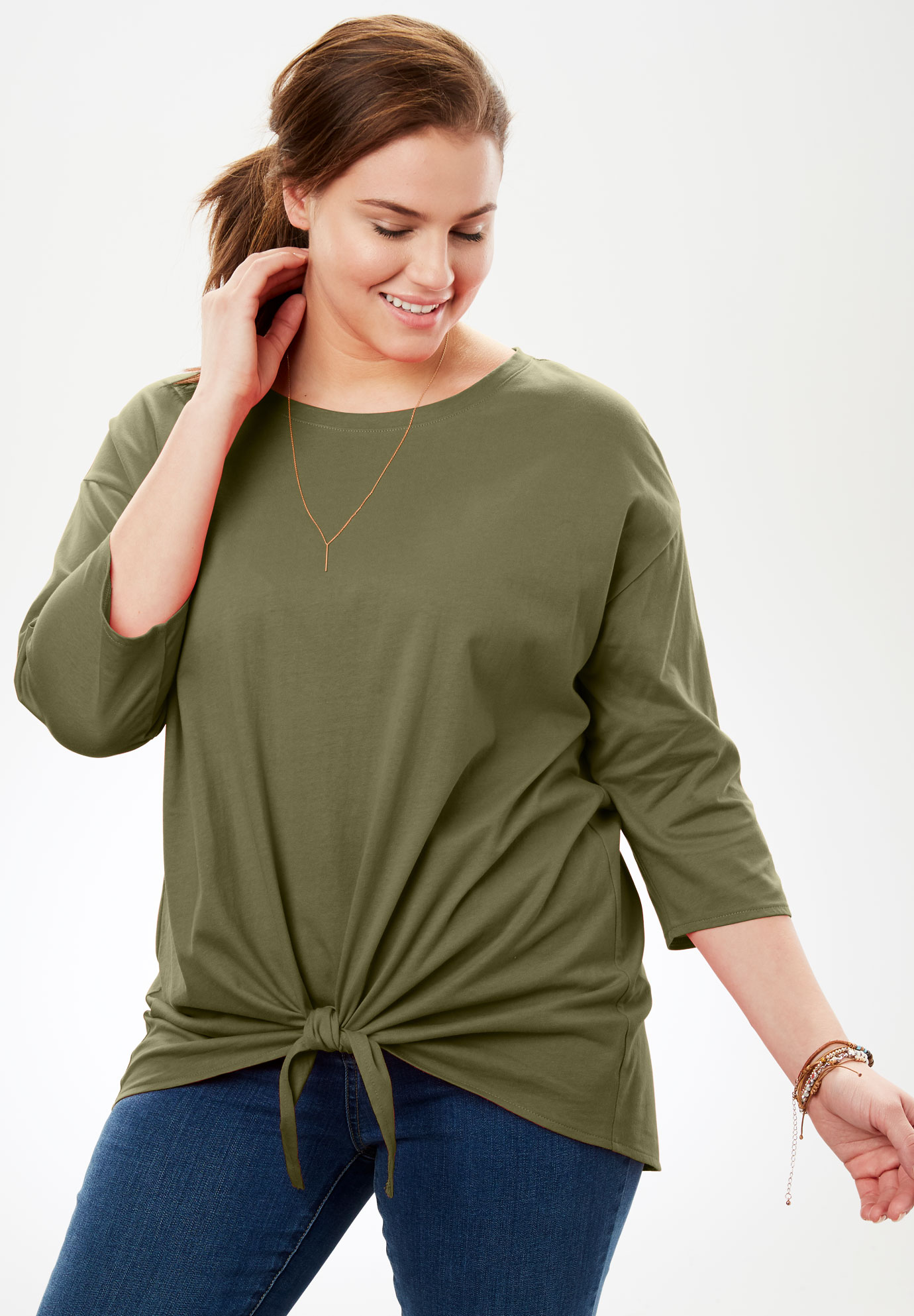 Tie-Front Tee with Rounded Hem,