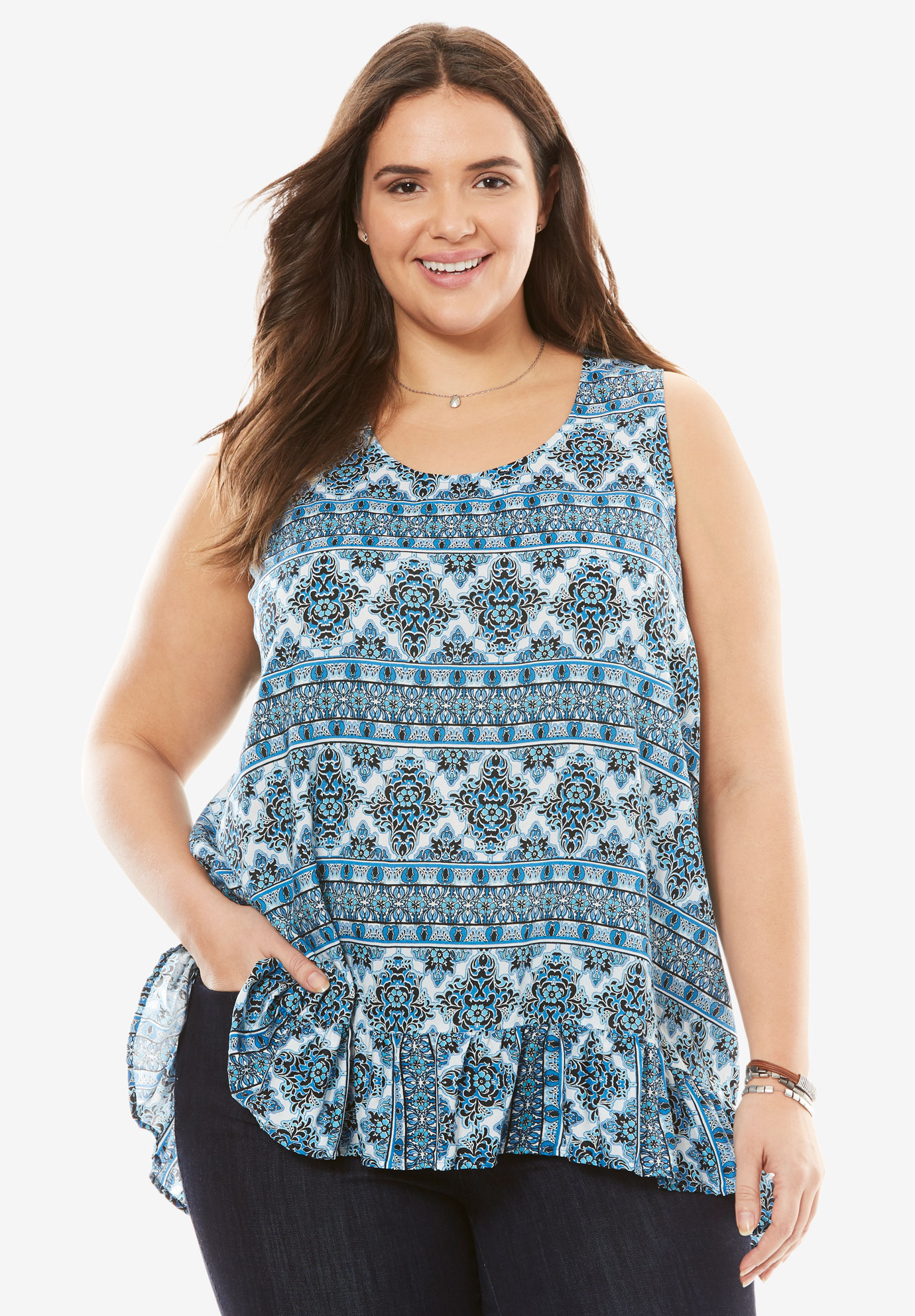 High-low ruffled maxi tank by Chelsea Studio®, BLUE BORDER STRIPE, hi-res