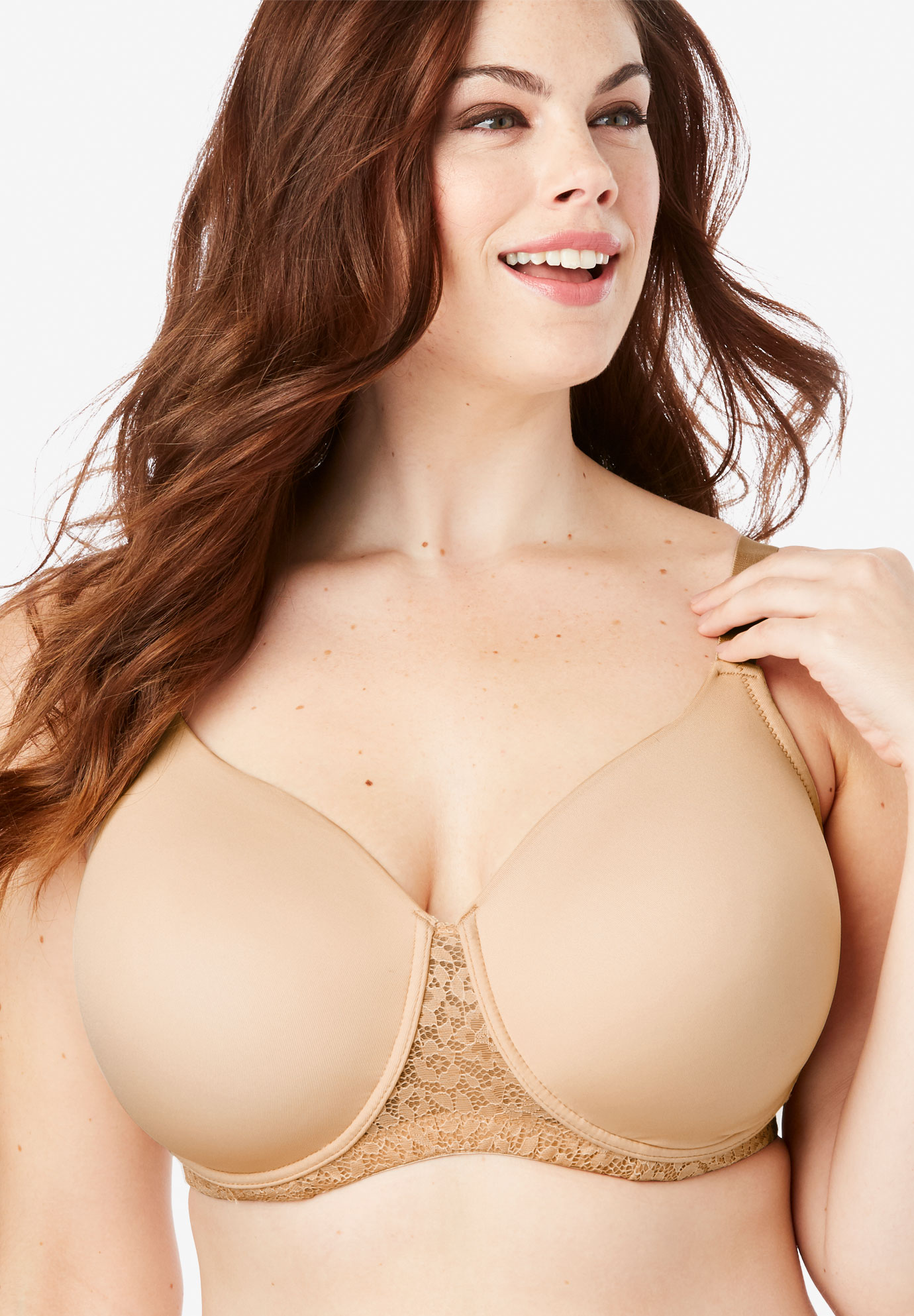 Full Coverage Lace-Trim Underwire T-Shirt Bra by Comfort Choice®,