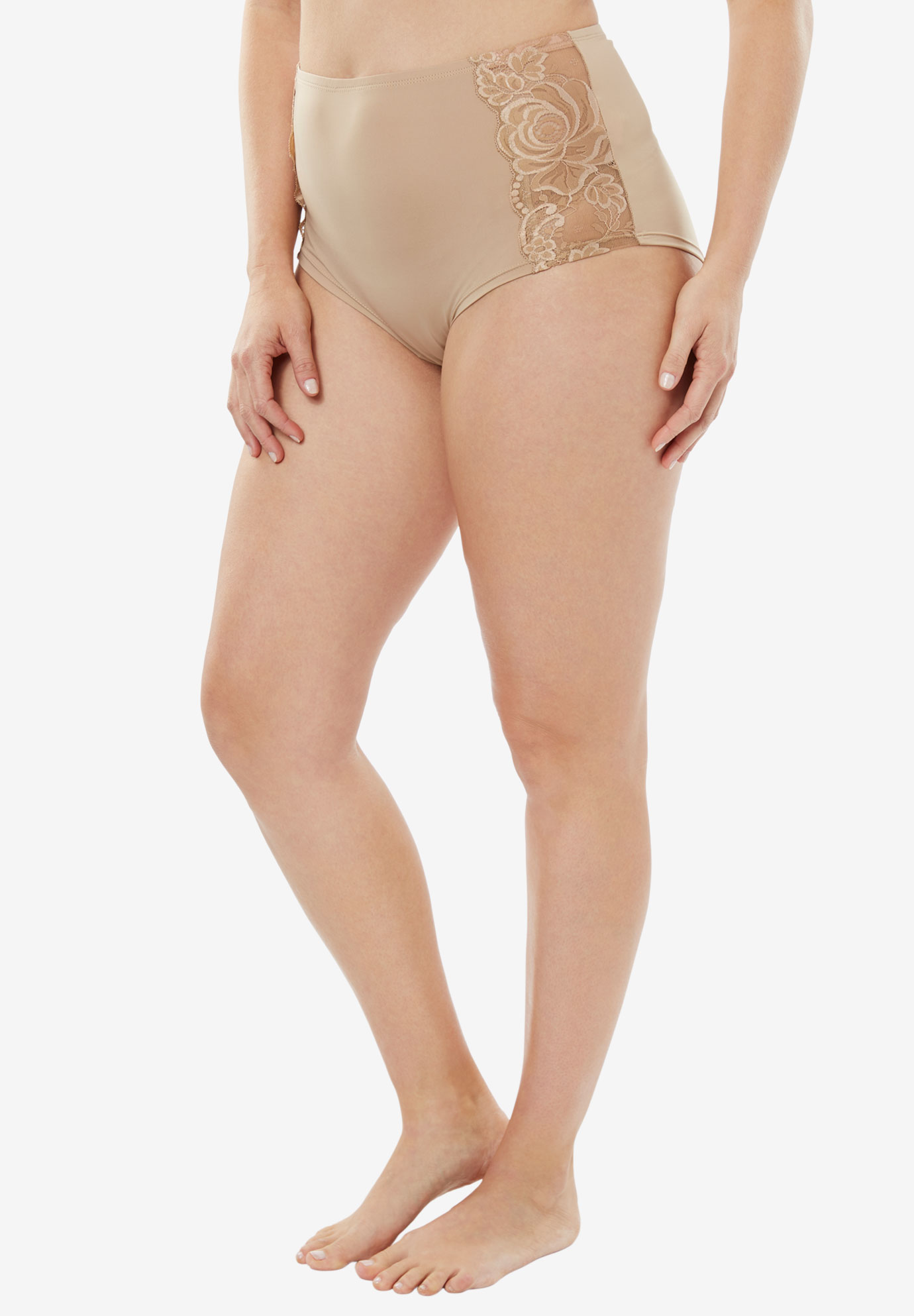Comfort Choice® Lace-trim Cheeky Boyshort, NUDE, hi-res