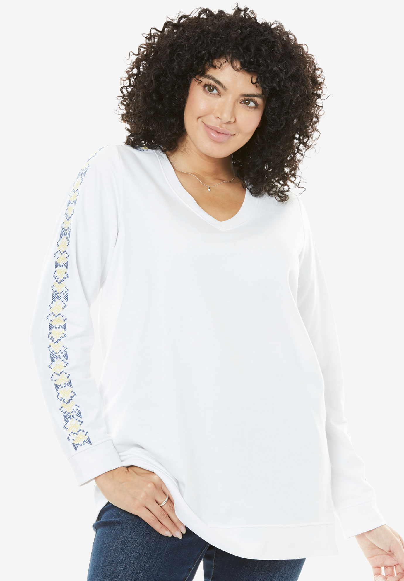 Embroidered V-Neck Sweatshirt,