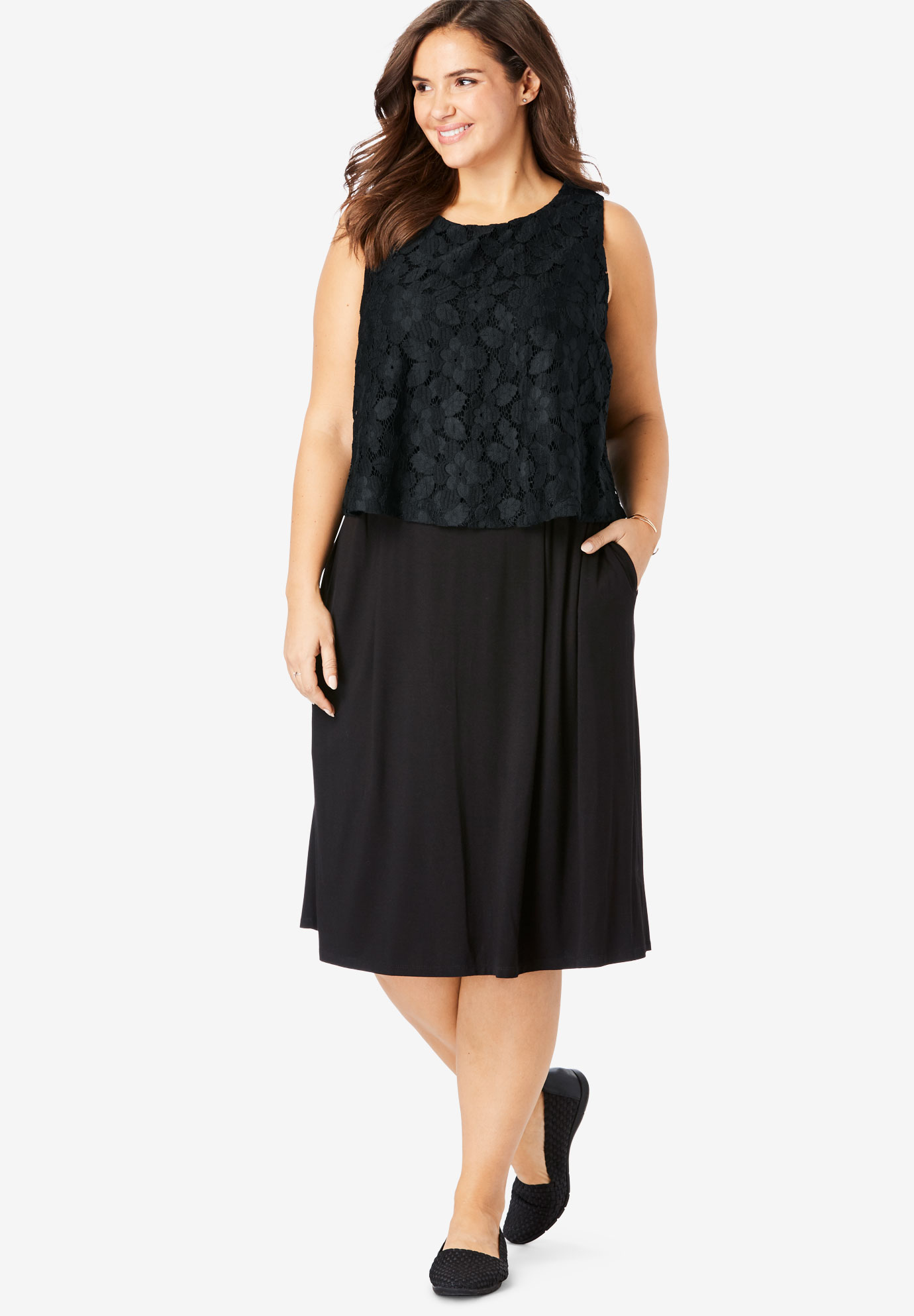 Lace Overlay Sleeveless Dress,